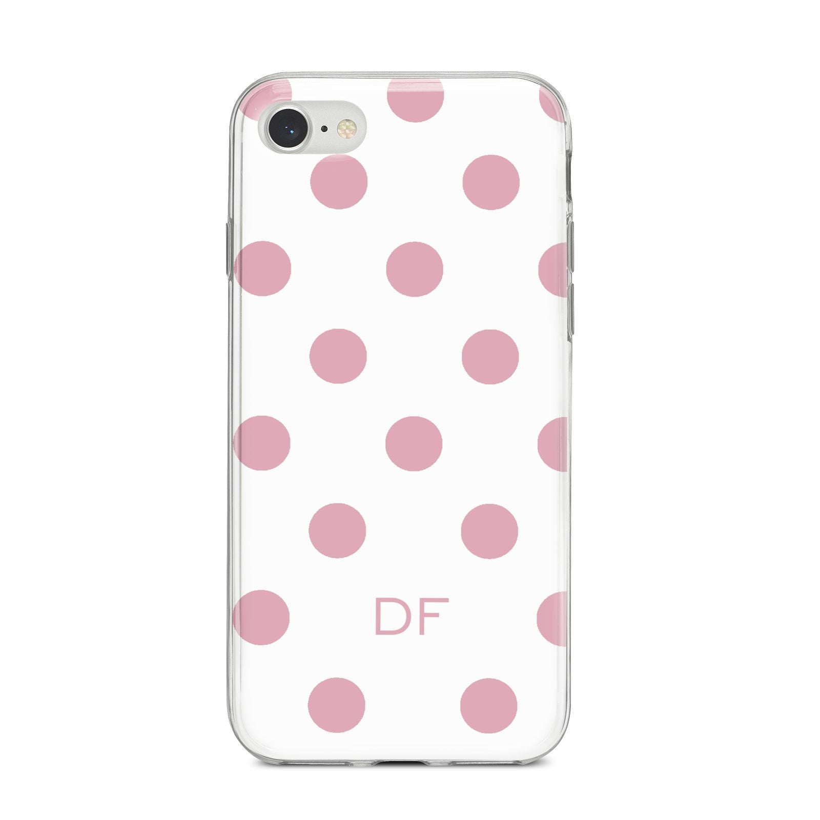 Dots Initials Personalised iPhone 8 Bumper Case on Silver iPhone