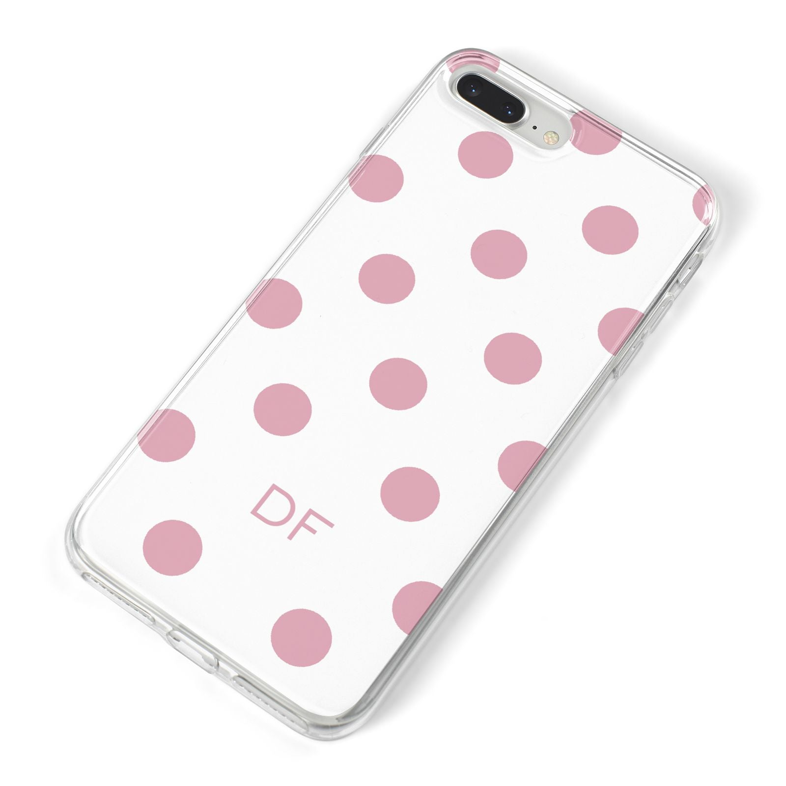 Dots Initials Personalised iPhone 8 Plus Bumper Case on Silver iPhone Alternative Image