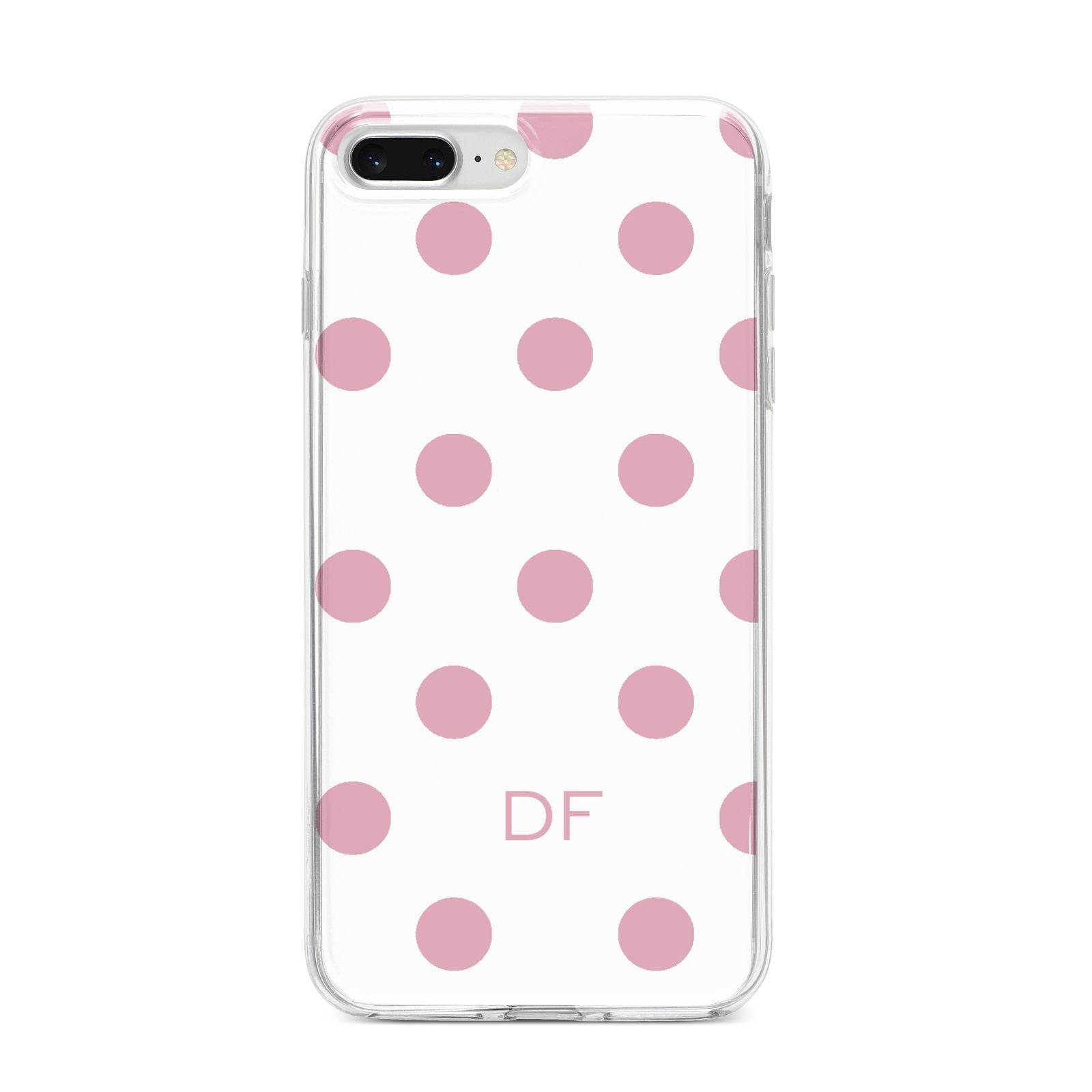 Dots Initials Personalised iPhone 8 Plus Bumper Case on Silver iPhone