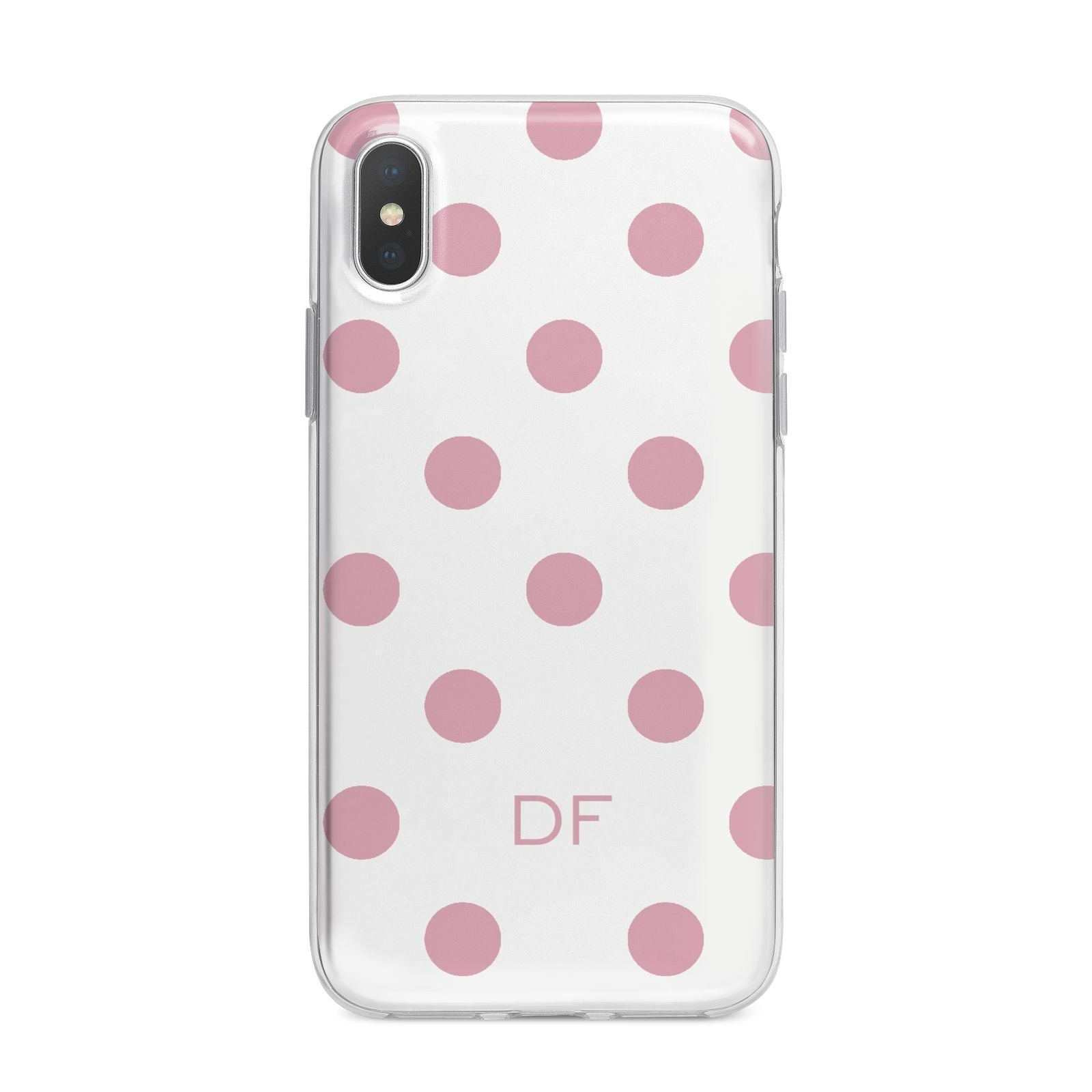 Dots Initials Personalised iPhone X Bumper Case on Silver iPhone Alternative Image 1