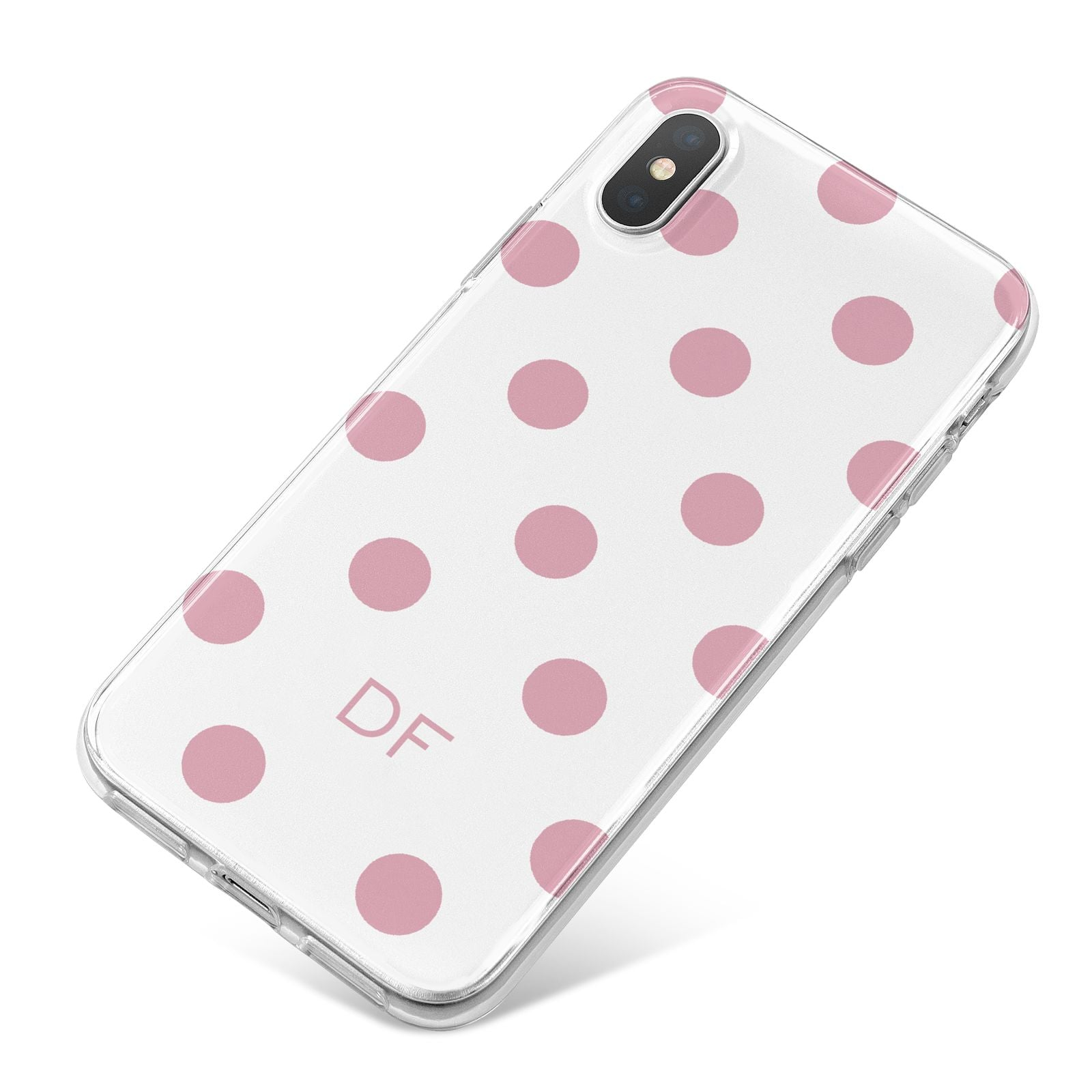 Dots Initials Personalised iPhone X Bumper Case on Silver iPhone
