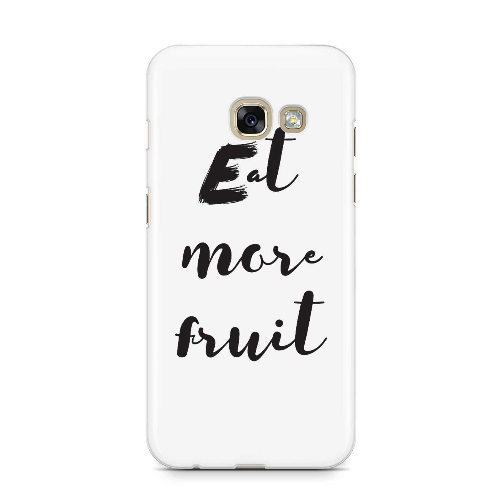 Eat More Fruit Samsung Galaxy A3 2017 Case on gold phone