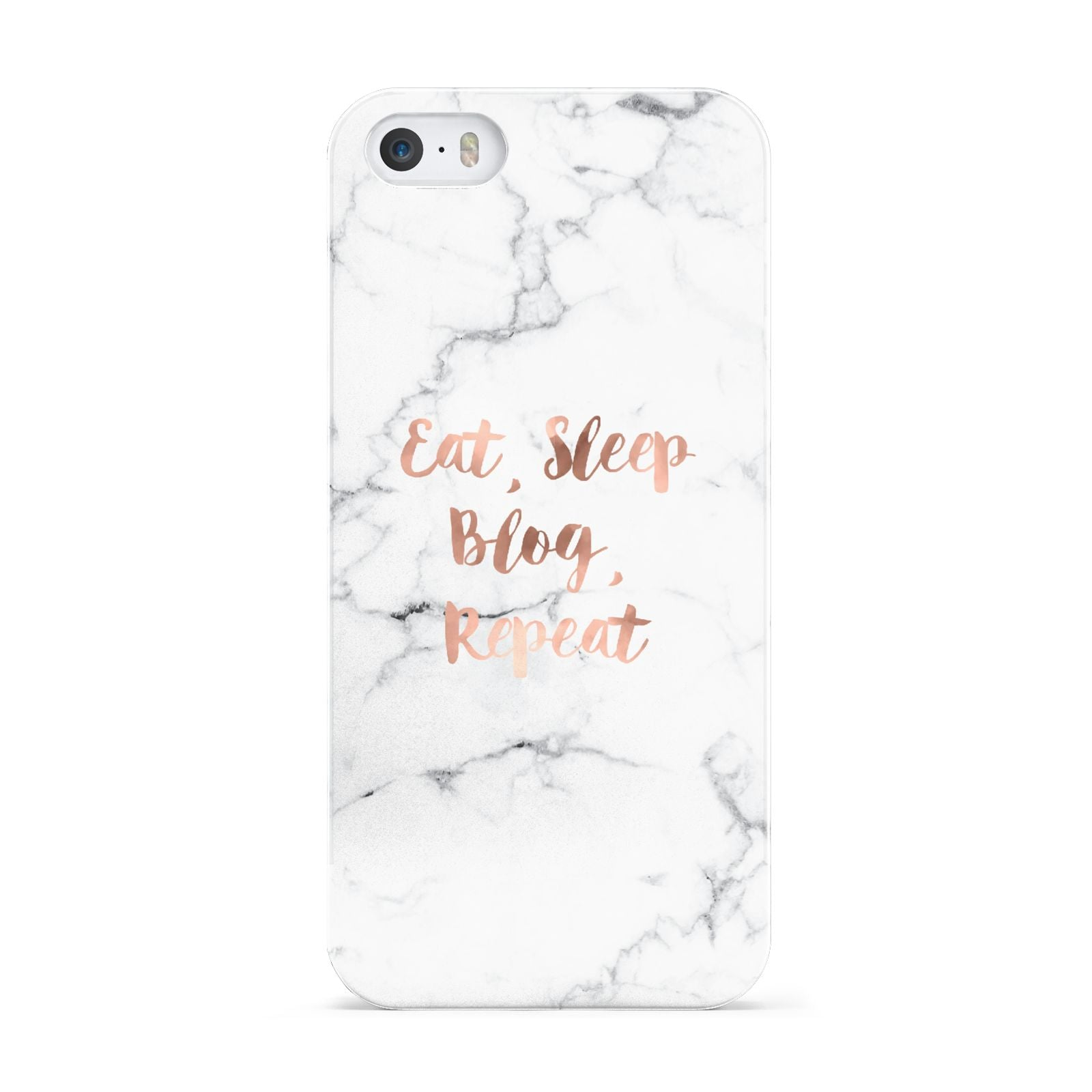 Eat Sleep Blog Repeat Marble Effect Apple iPhone 5 Case