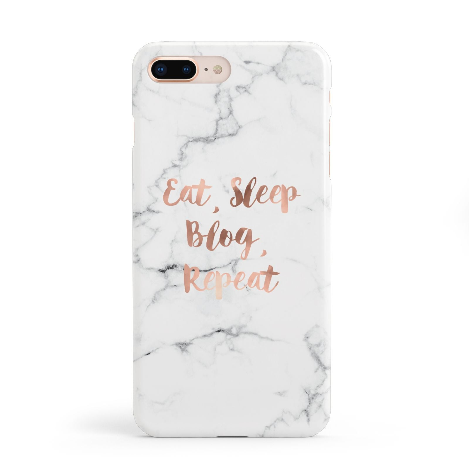 Eat Sleep Blog Repeat Marble Effect Apple iPhone 8 Plus Case