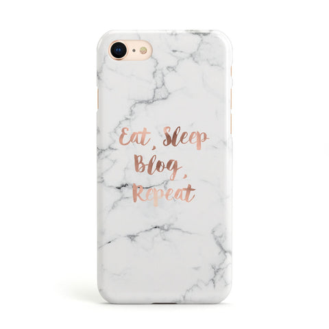 Eat Sleep Blog Repeat Marble Effect Apple iPhone Case