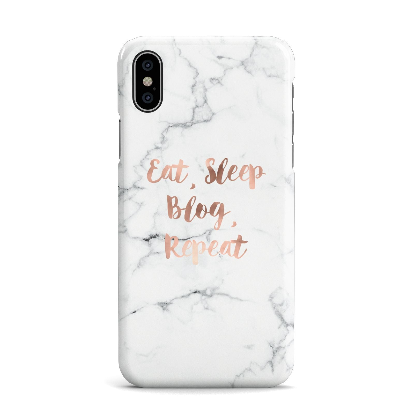 Eat Sleep Blog Repeat Marble Effect Apple iPhone X Case