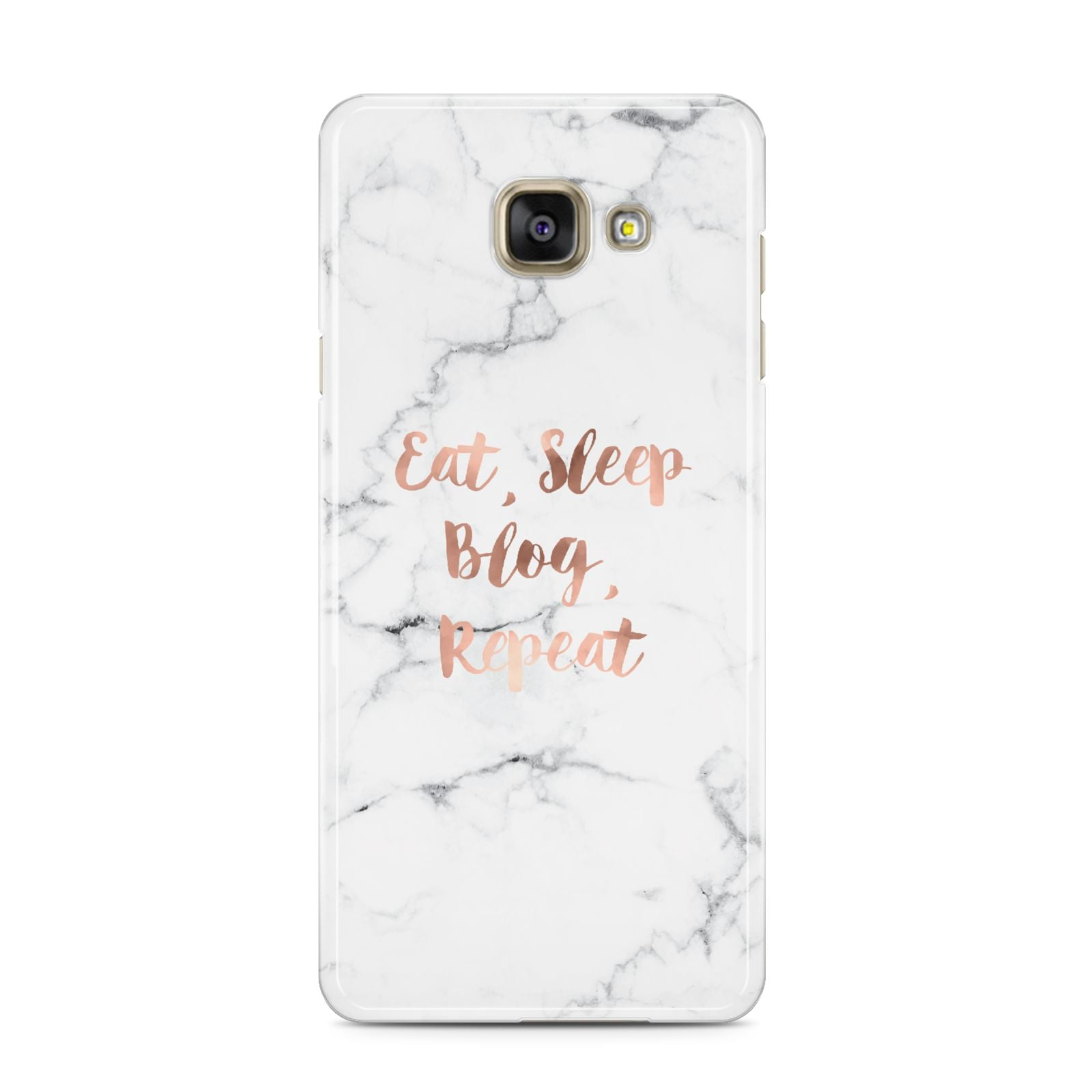 Eat Sleep Blog Repeat Marble Effect Samsung Galaxy A3 2016 Case on gold phone