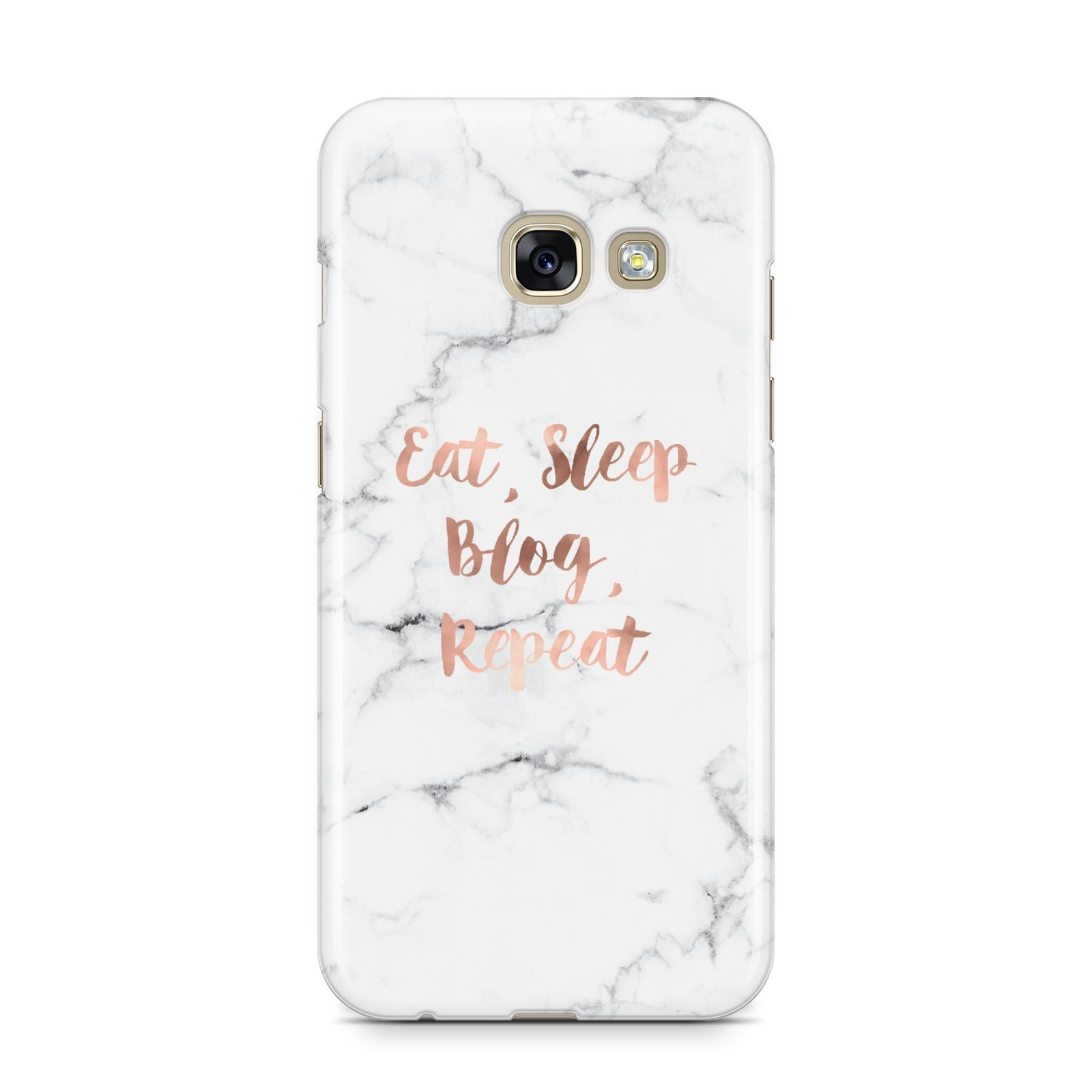 Eat Sleep Blog Repeat Marble Effect Samsung Galaxy A3 2017 Case on gold phone