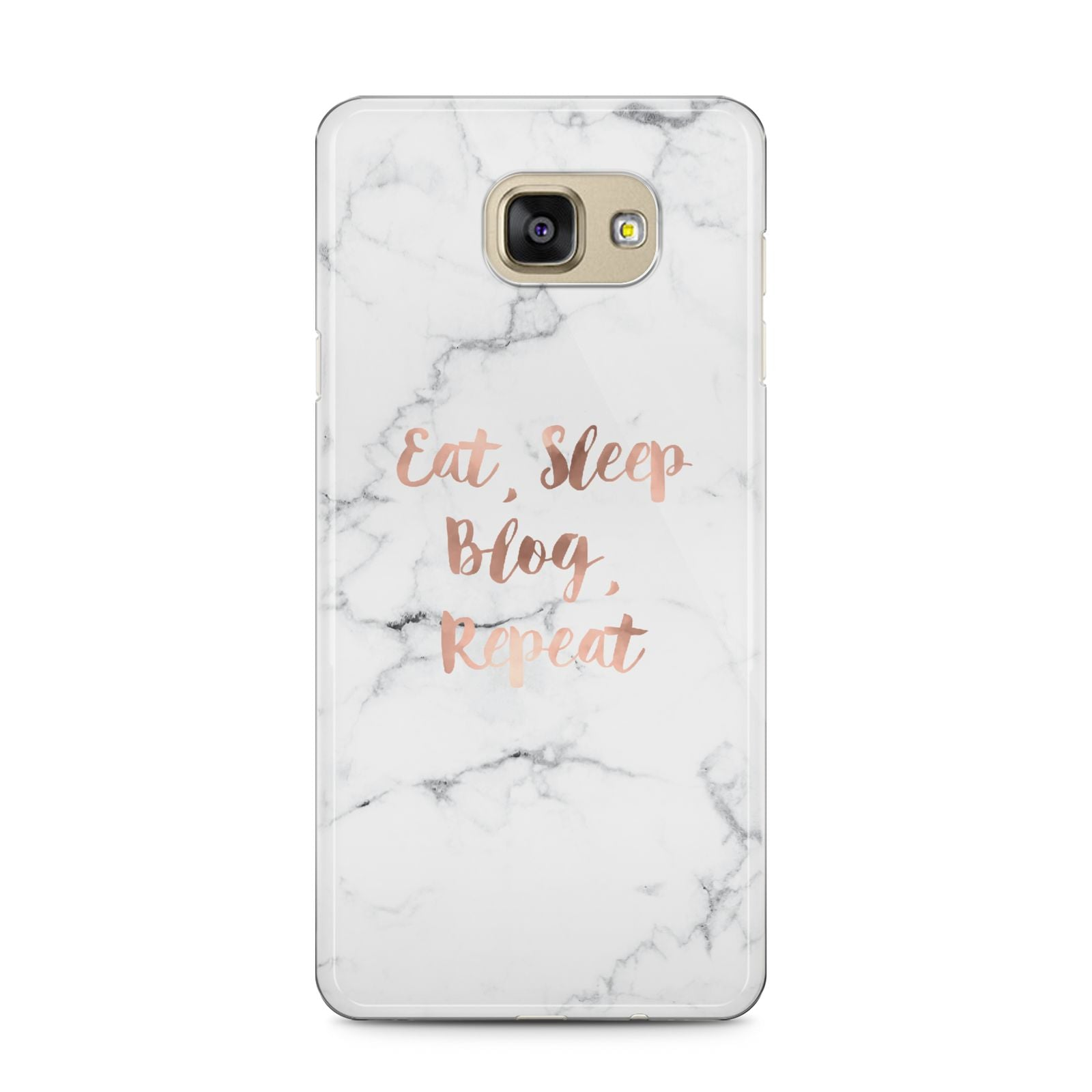 Eat Sleep Blog Repeat Marble Effect Samsung Galaxy A5 2016 Case on gold phone