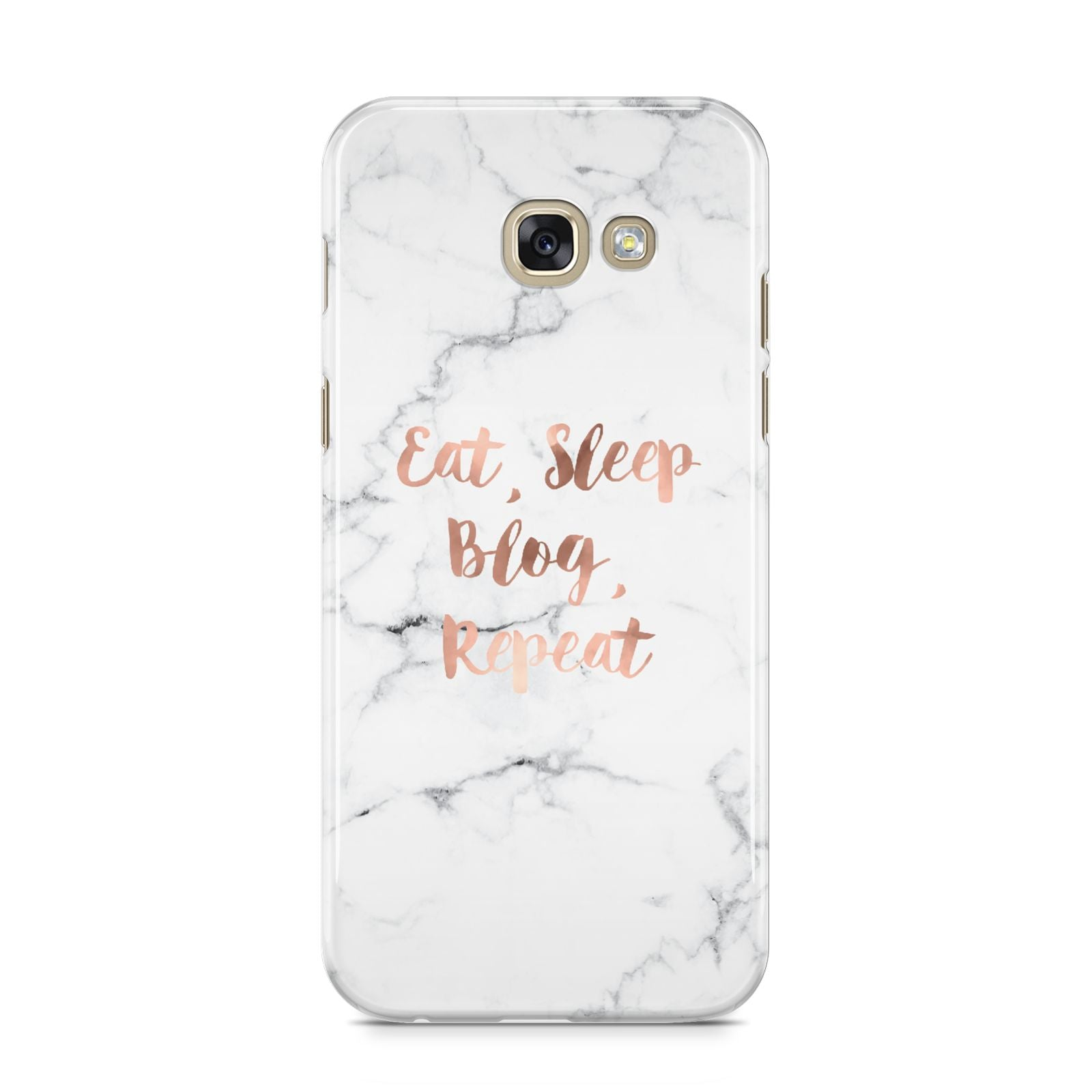 Eat Sleep Blog Repeat Marble Effect Samsung Galaxy A5 2017 Case on gold phone