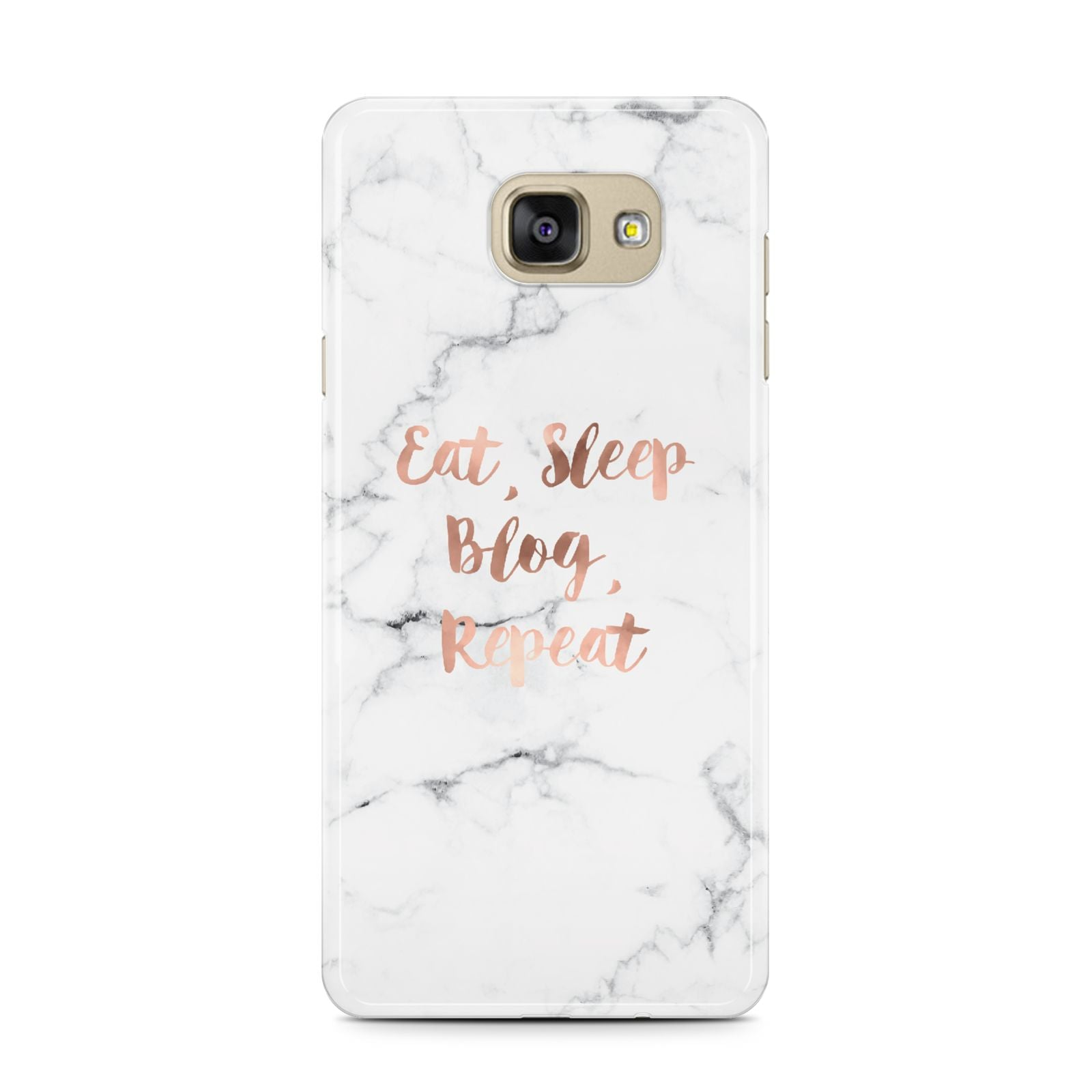 Eat Sleep Blog Repeat Marble Effect Samsung Galaxy A7 2016 Case on gold phone
