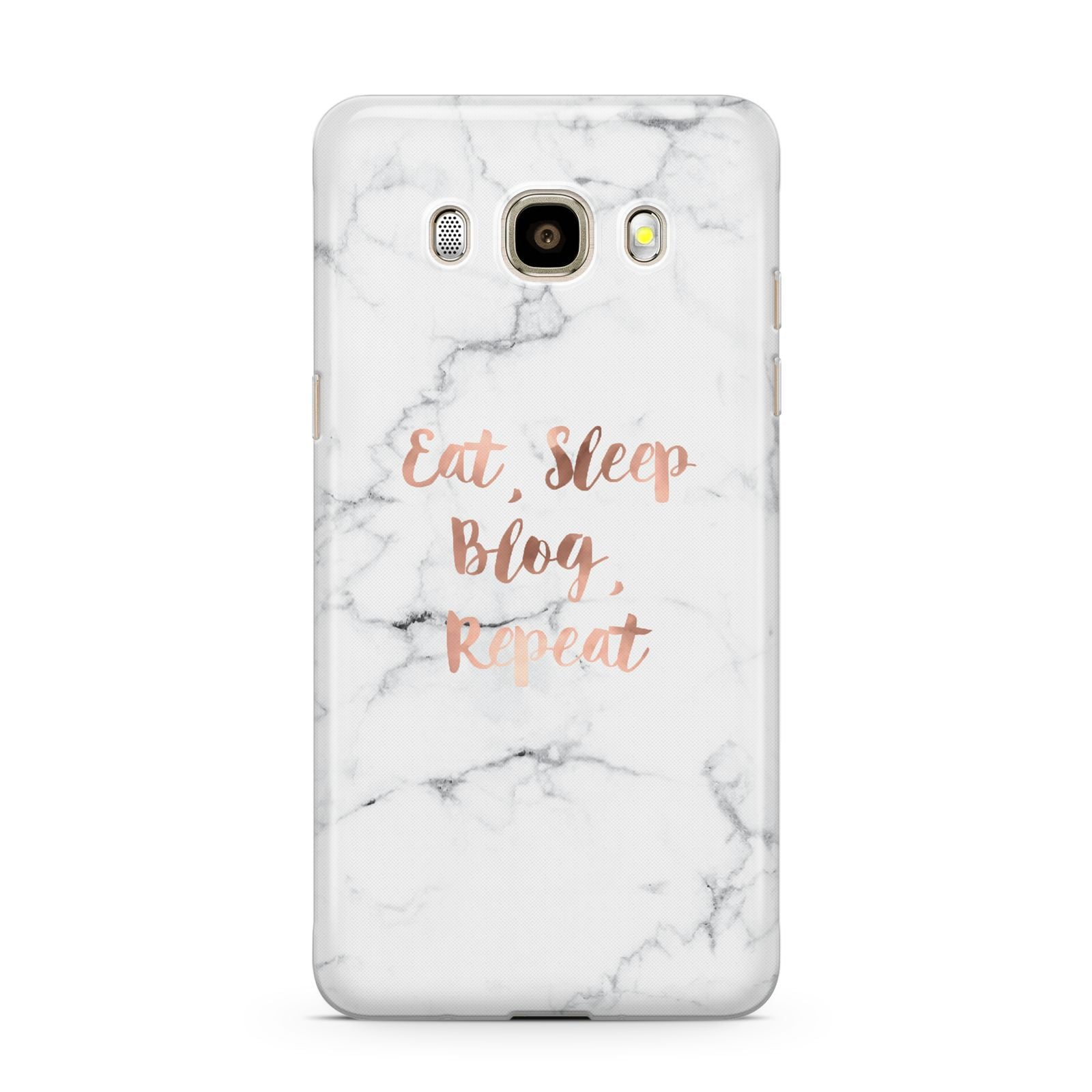 Eat Sleep Blog Repeat Marble Effect Samsung Galaxy J7 2016 Case on gold phone