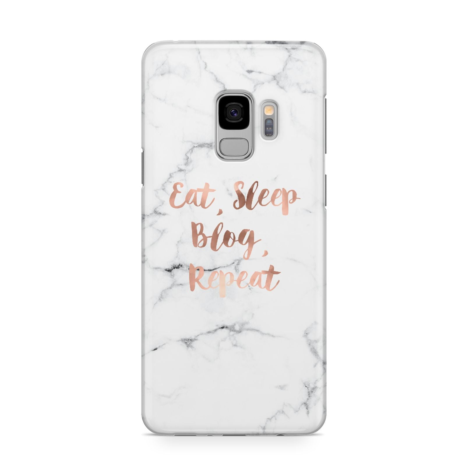 Eat Sleep Blog Repeat Marble Effect Samsung Galaxy S9 Case