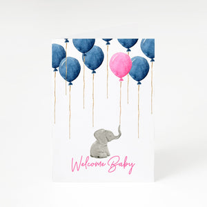Elephant with Balloons Baby Girl Reveal A5 Greetings Card