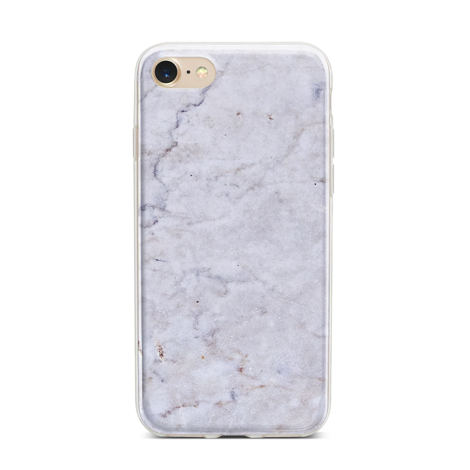 Faux Carrara Marble Print Grey iPhone 7 Bumper Case on Gold iPhone