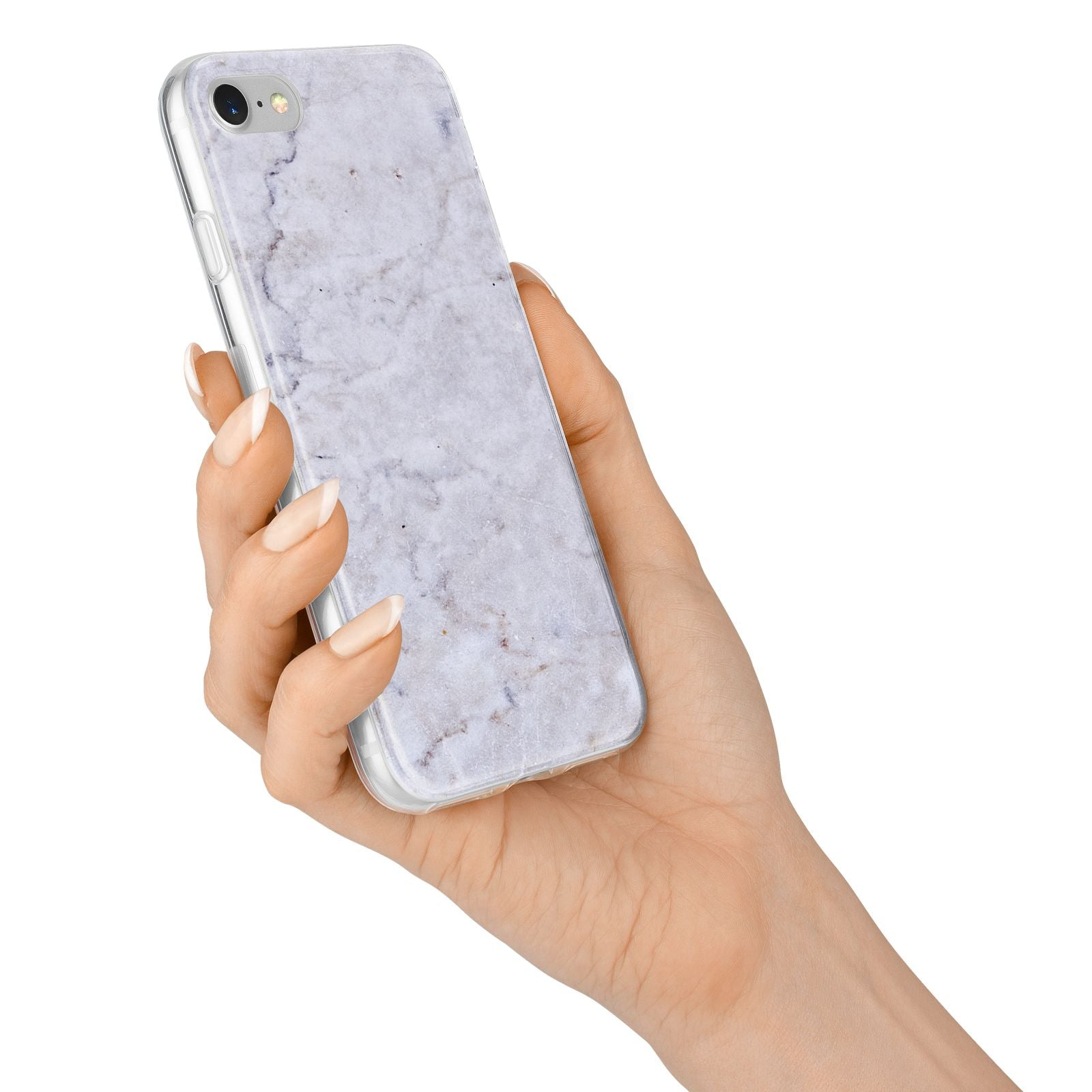 Faux Carrara Marble Print Grey iPhone 7 Bumper Case on Silver iPhone Alternative Image