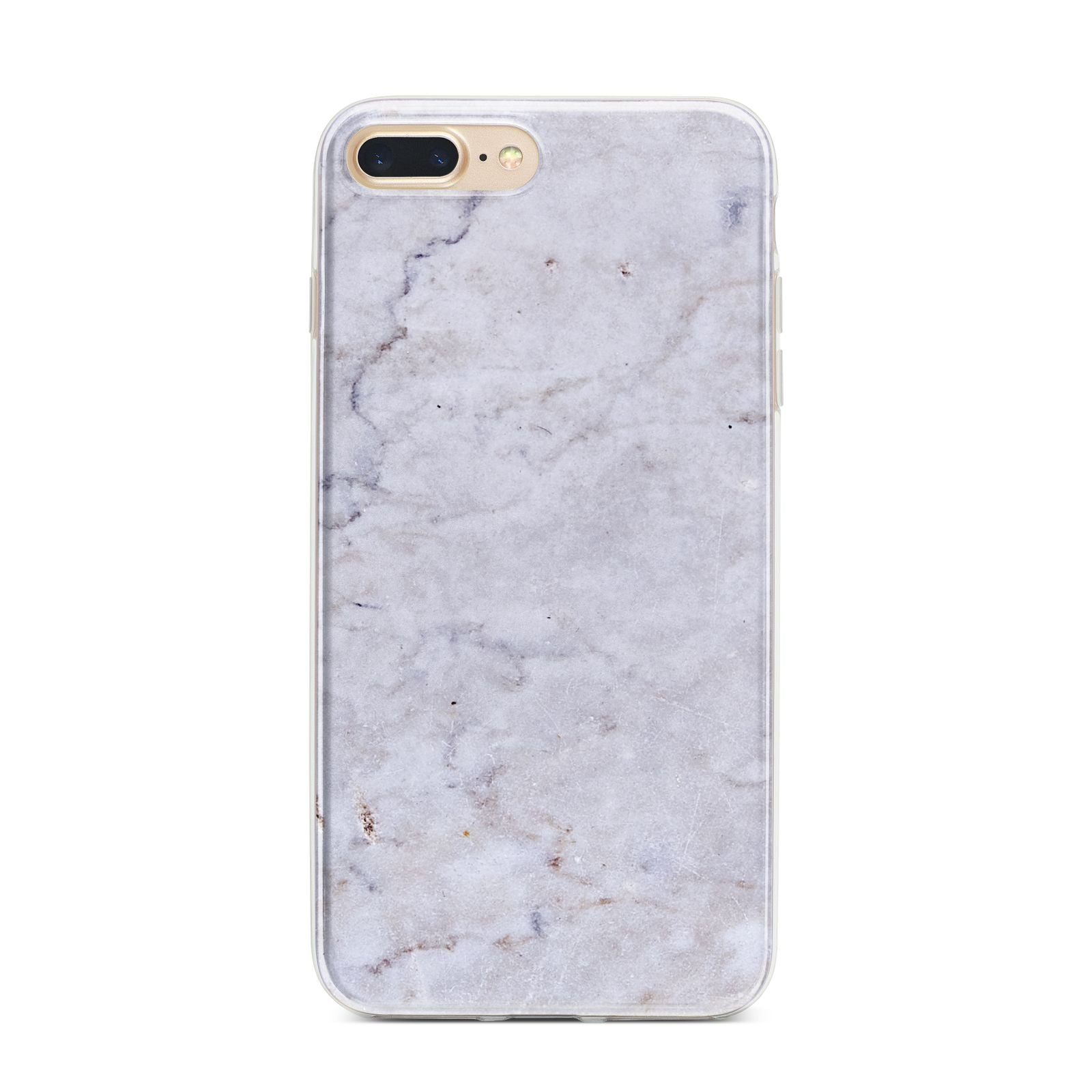 Faux Carrara Marble Print Grey iPhone 7 Plus Bumper Case on Gold iPhone