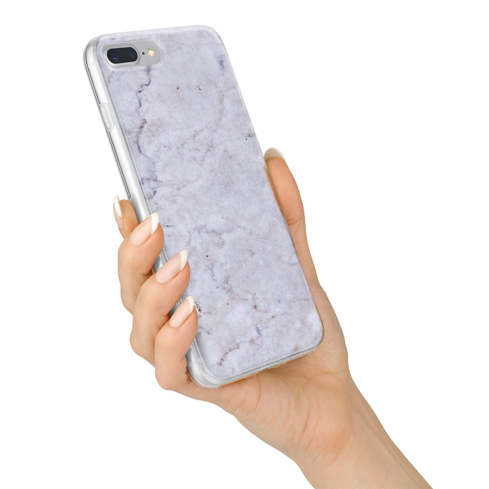 Faux Carrara Marble Print Grey iPhone 7 Plus Bumper Case on Silver iPhone Alternative Image