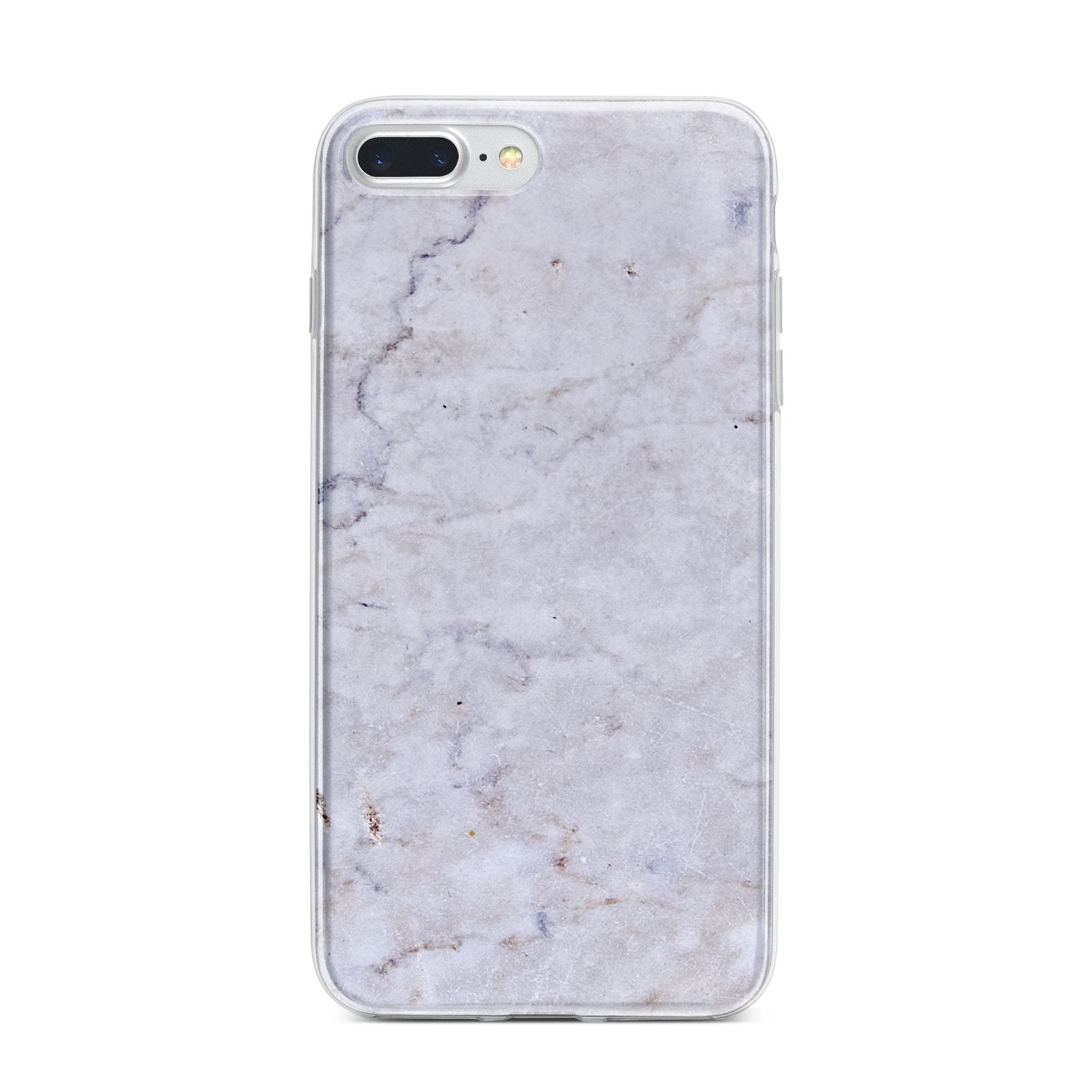 Faux Carrara Marble Print Grey iPhone 7 Plus Bumper Case on Silver iPhone
