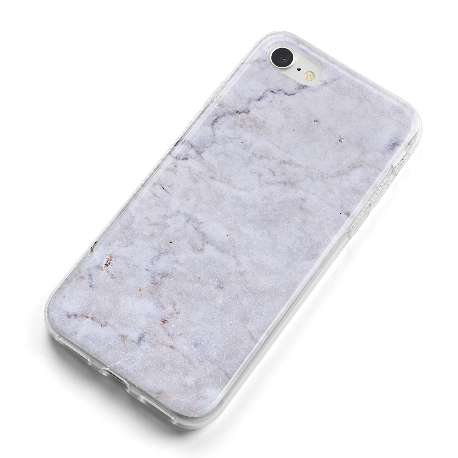 Faux Carrara Marble Print Grey iPhone 8 Bumper Case on Silver iPhone Alternative Image