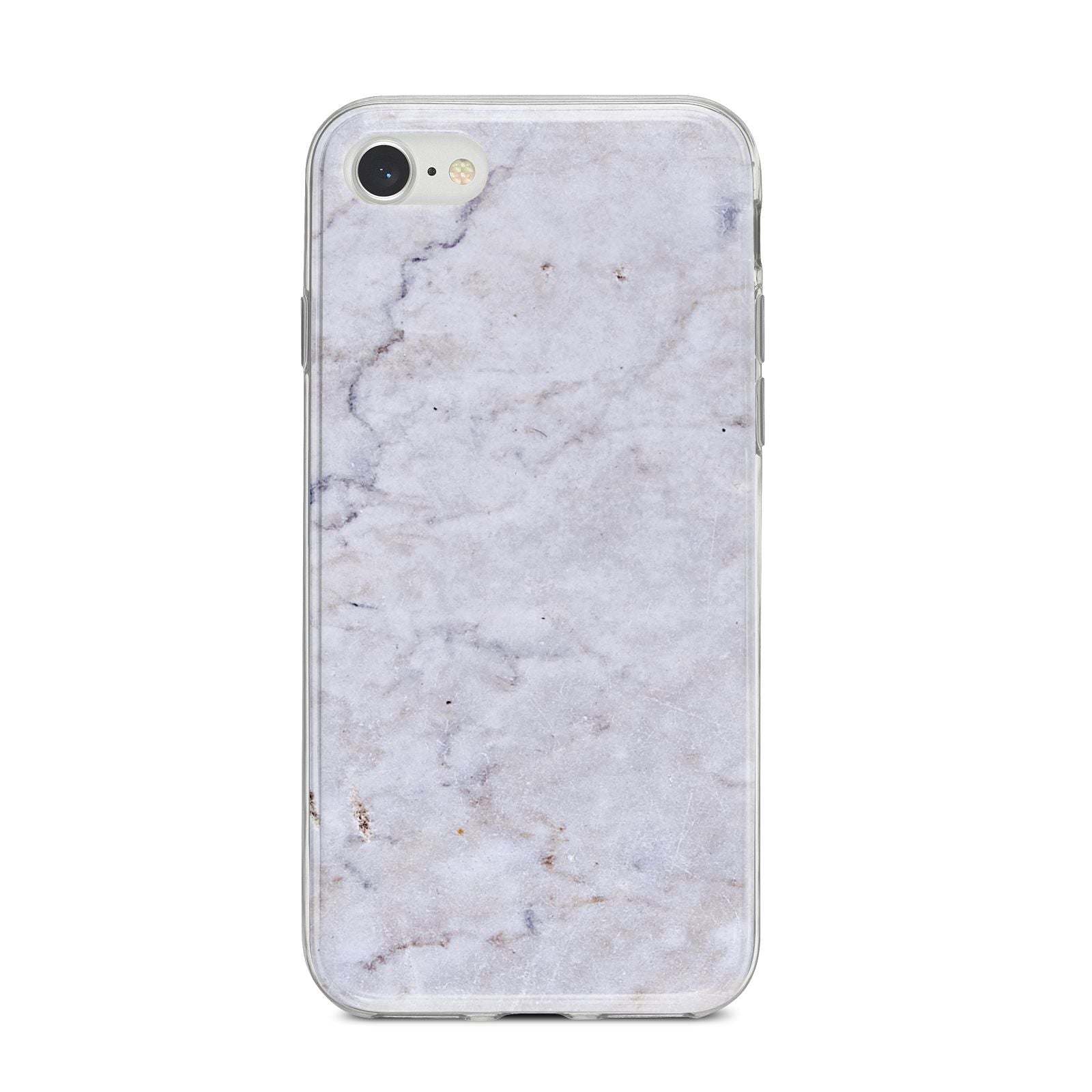 Faux Carrara Marble Print Grey iPhone 8 Bumper Case on Silver iPhone