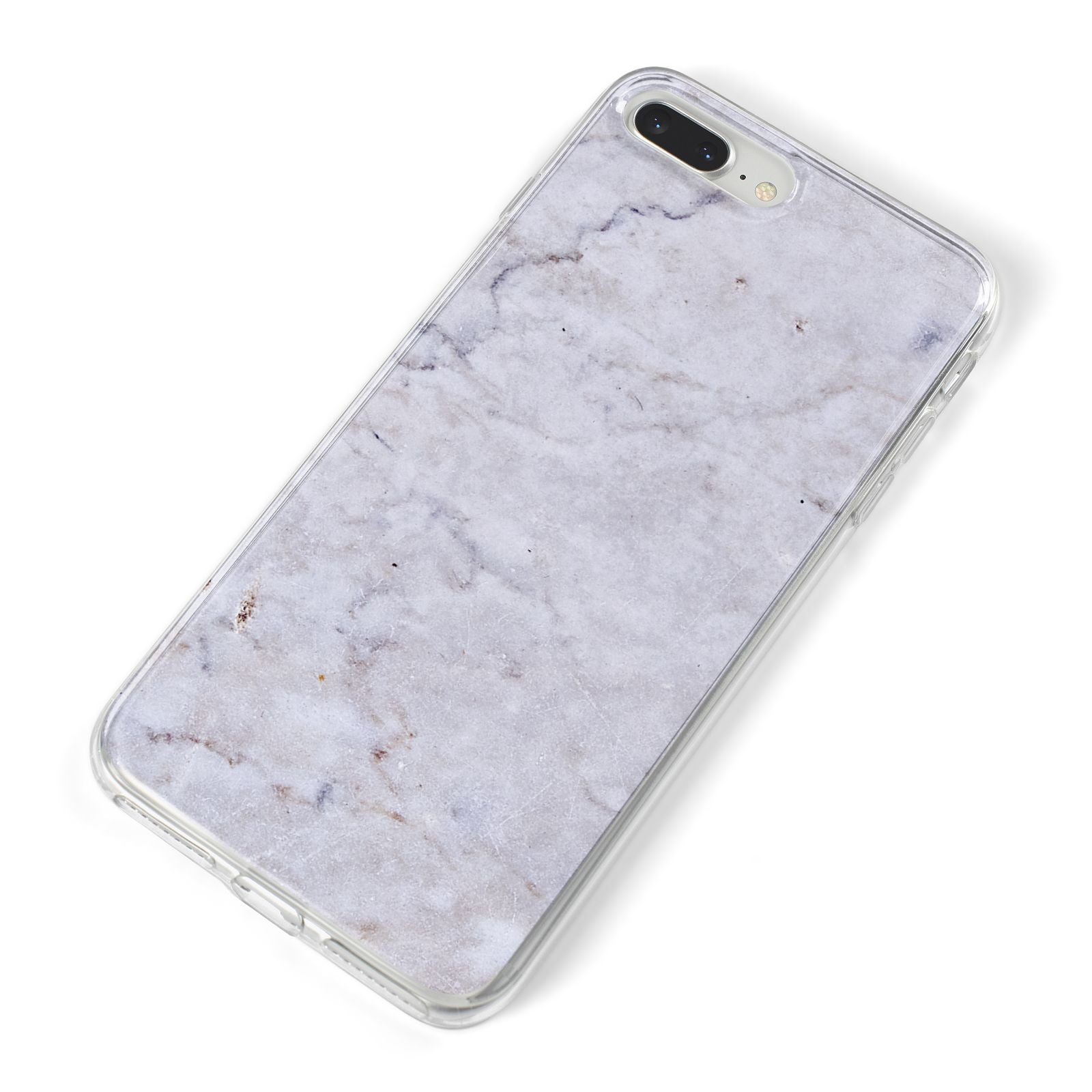 Faux Carrara Marble Print Grey iPhone 8 Plus Bumper Case on Silver iPhone Alternative Image