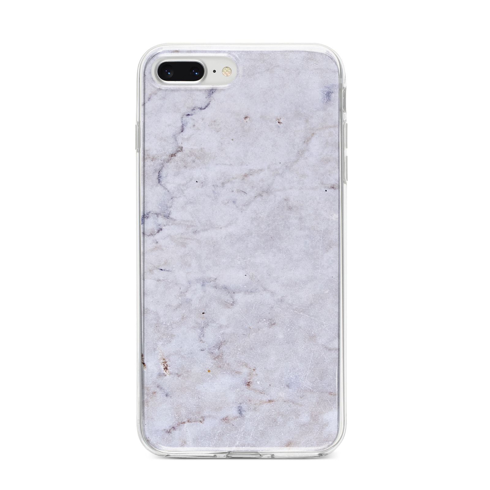 Faux Carrara Marble Print Grey iPhone 8 Plus Bumper Case on Silver iPhone
