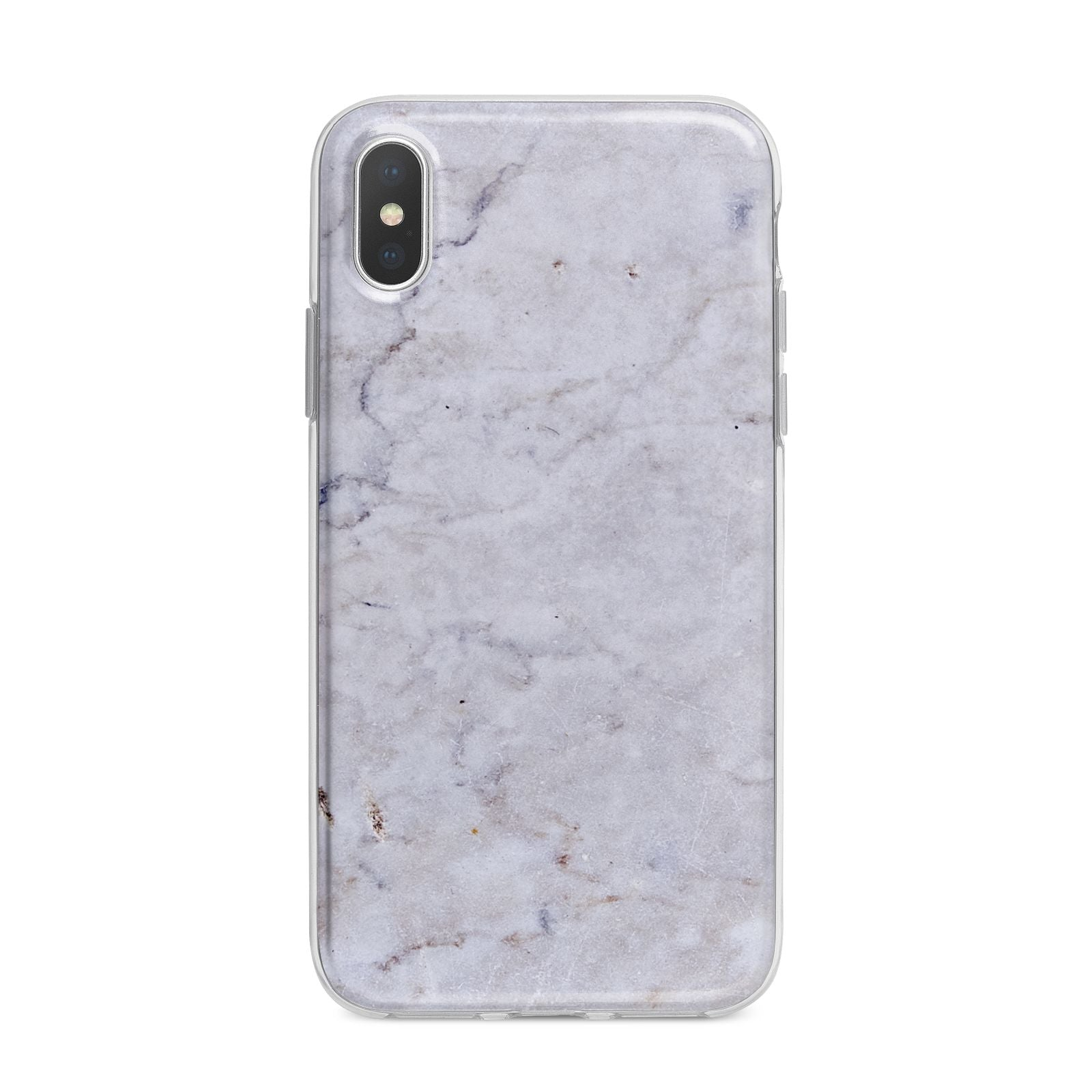 Faux Carrara Marble Print Grey iPhone X Bumper Case on Silver iPhone Alternative Image 1