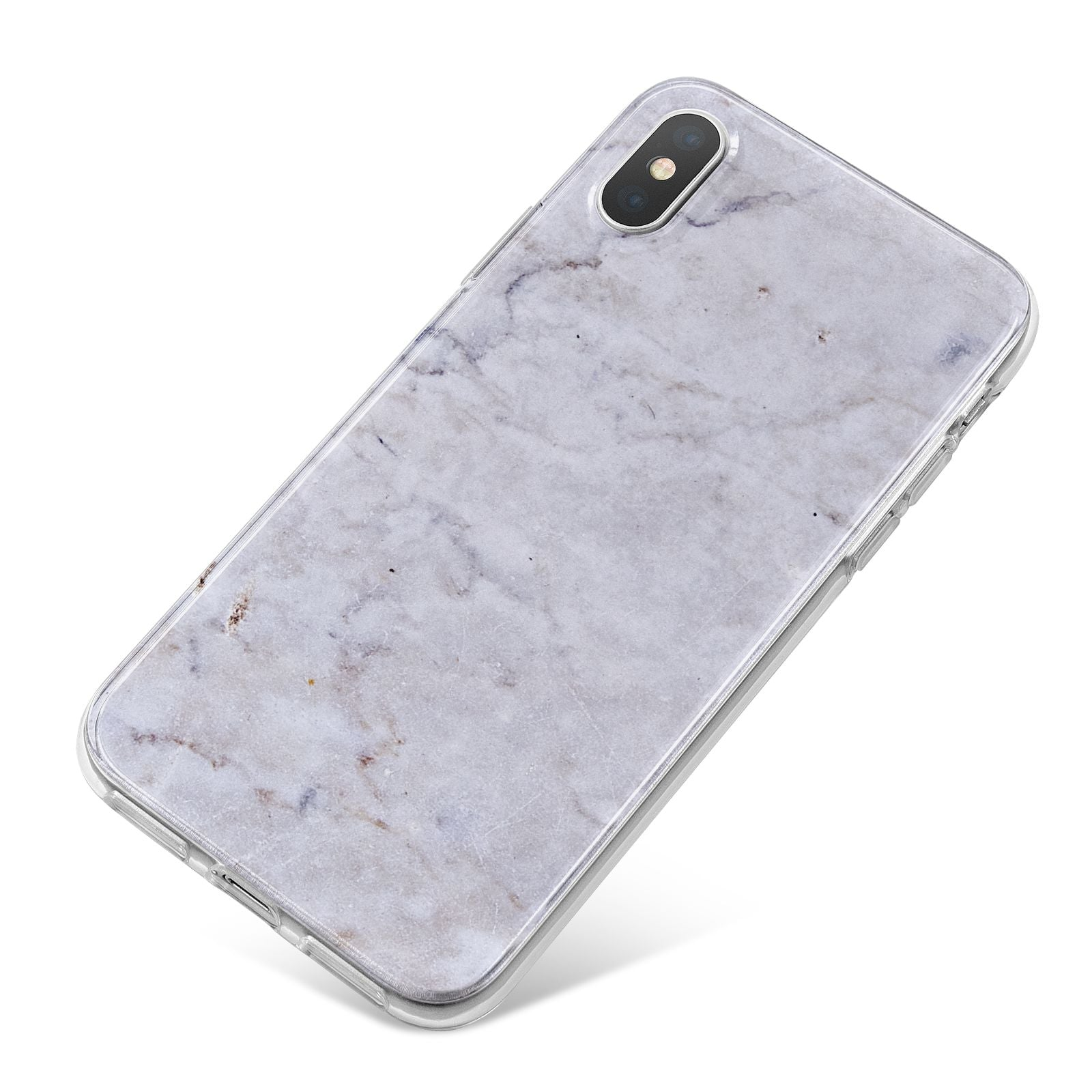 Faux Carrara Marble Print Grey iPhone X Bumper Case on Silver iPhone