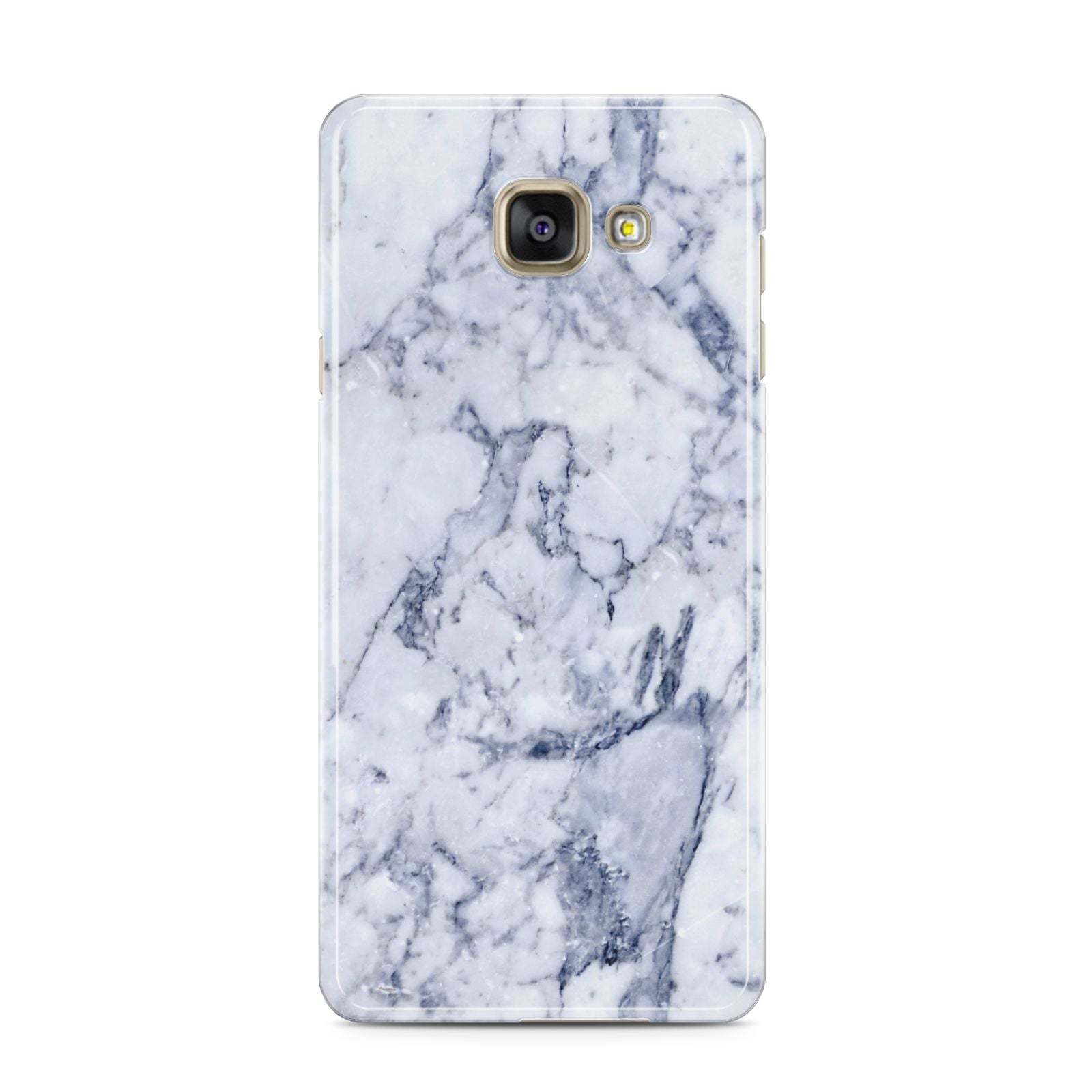 Faux Marble Blue Grey White Samsung Galaxy A3 2016 Case on gold phone