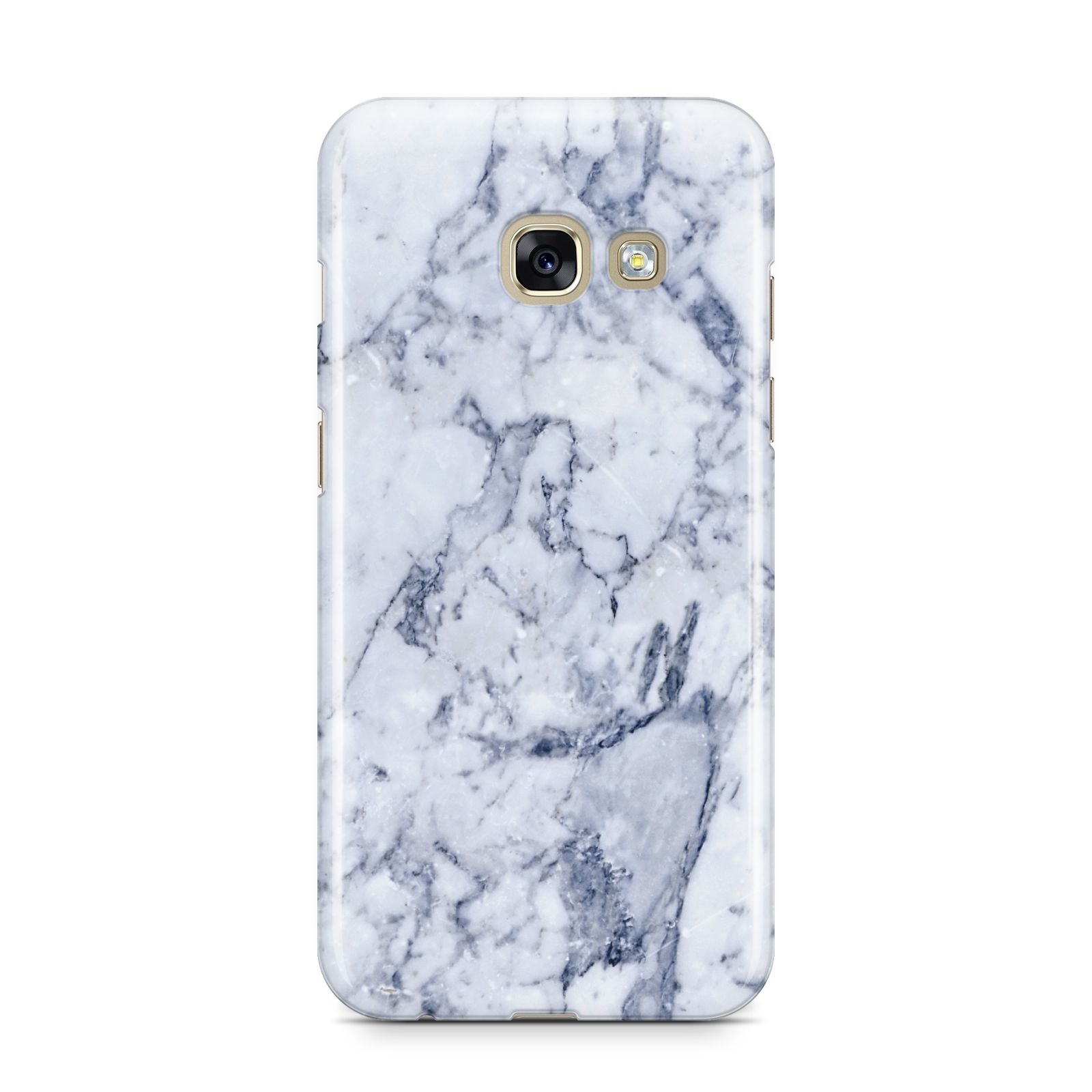 Faux Marble Blue Grey White Samsung Galaxy A3 2017 Case on gold phone