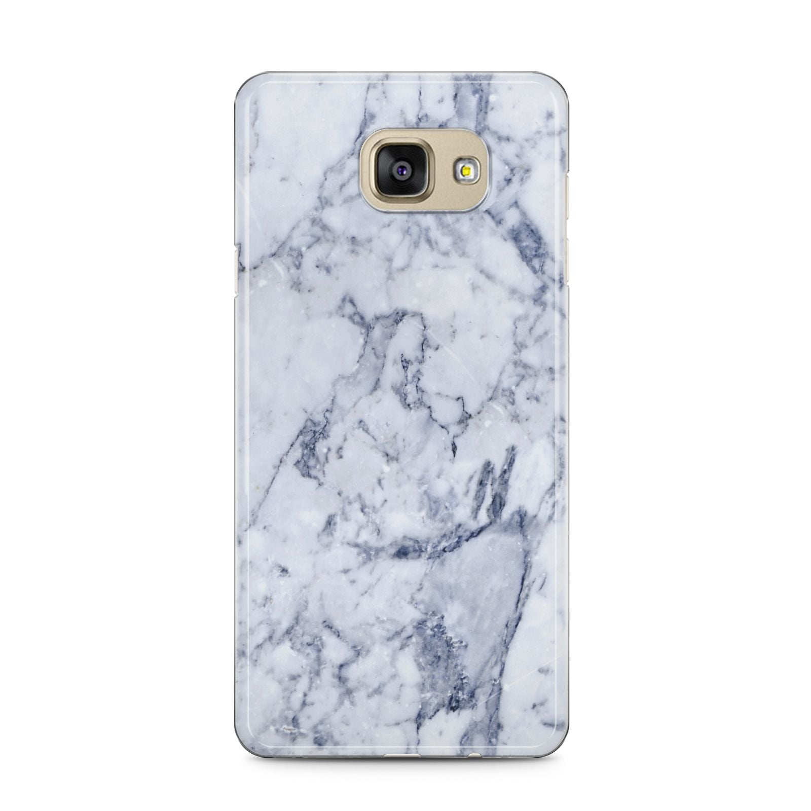 Faux Marble Blue Grey White Samsung Galaxy A5 2016 Case on gold phone