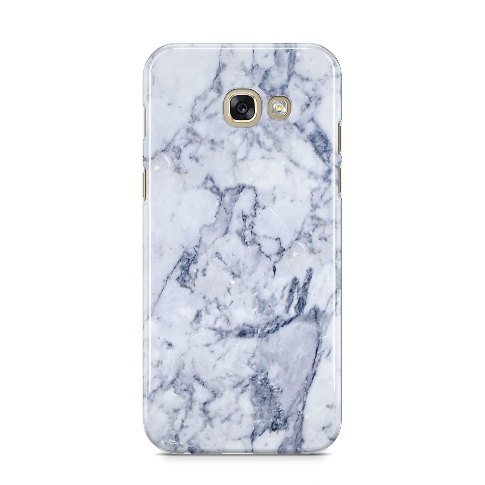 Faux Marble Blue Grey White Samsung Galaxy A5 2017 Case on gold phone