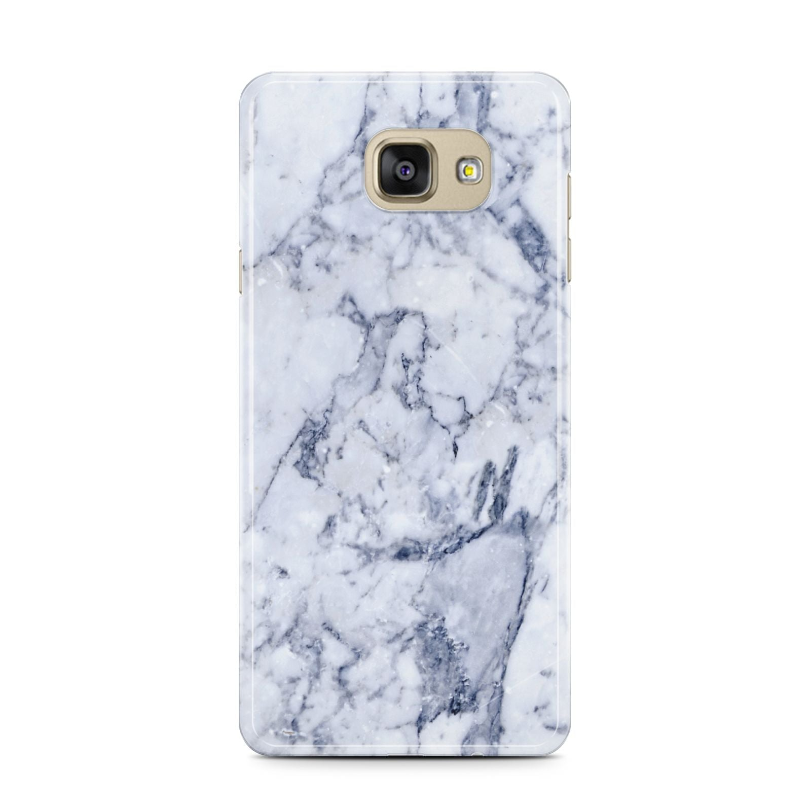 Faux Marble Blue Grey White Samsung Galaxy A7 2016 Case on gold phone