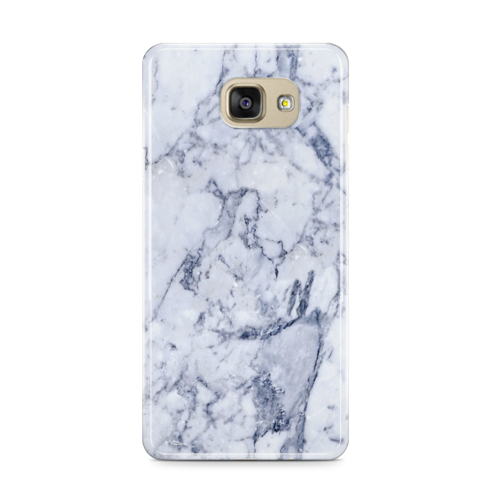 Faux Marble Blue Grey White Samsung Galaxy A9 2016 Case on gold phone