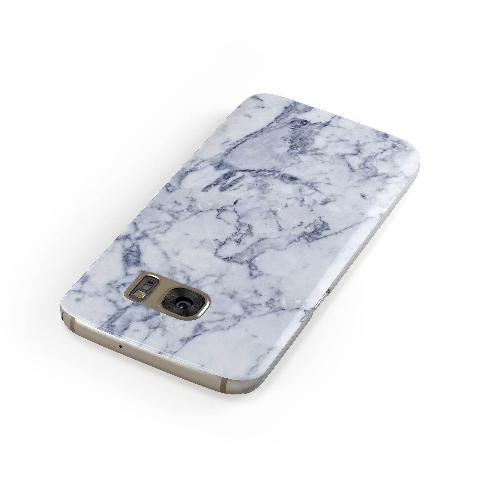 Faux Marble Blue Grey White Samsung Galaxy Case Front Close Up