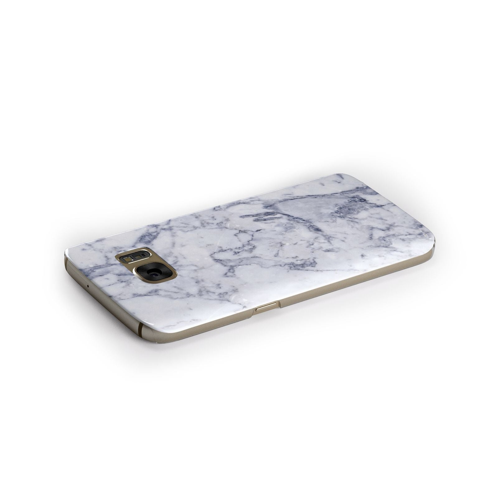 Faux Marble Blue Grey White Samsung Galaxy Case Side Close Up