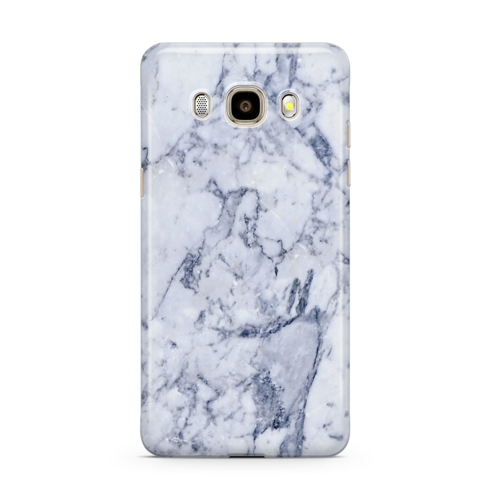 Faux Marble Blue Grey White Samsung Galaxy J7 2016 Case on gold phone