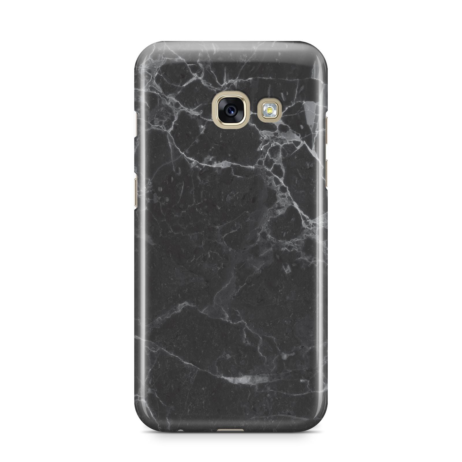 Faux Marble Effect Black Samsung Galaxy A3 2017 Case on gold phone