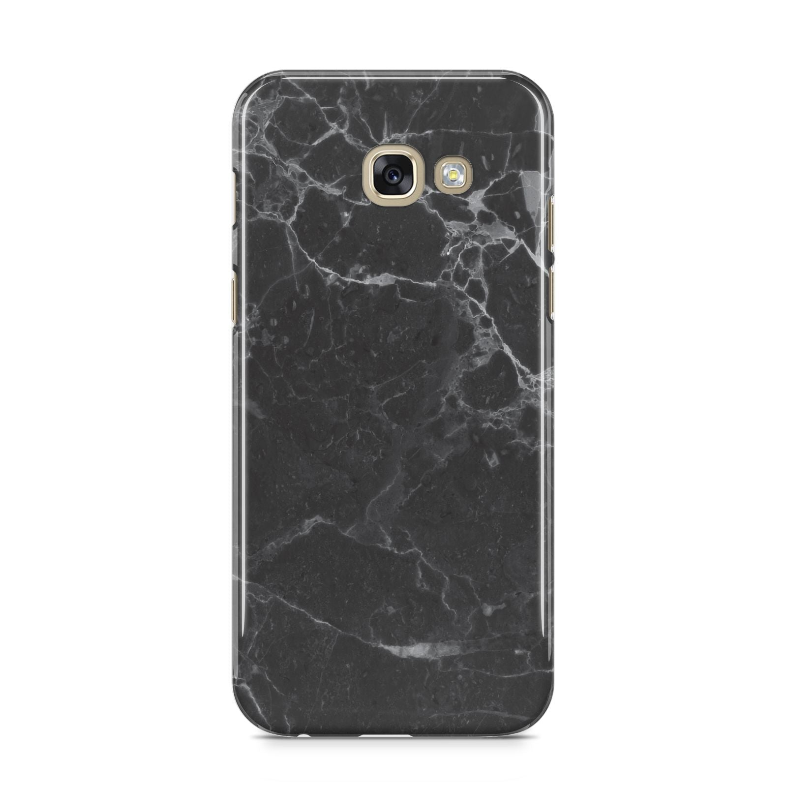 Faux Marble Effect Black Samsung Galaxy A5 2017 Case on gold phone