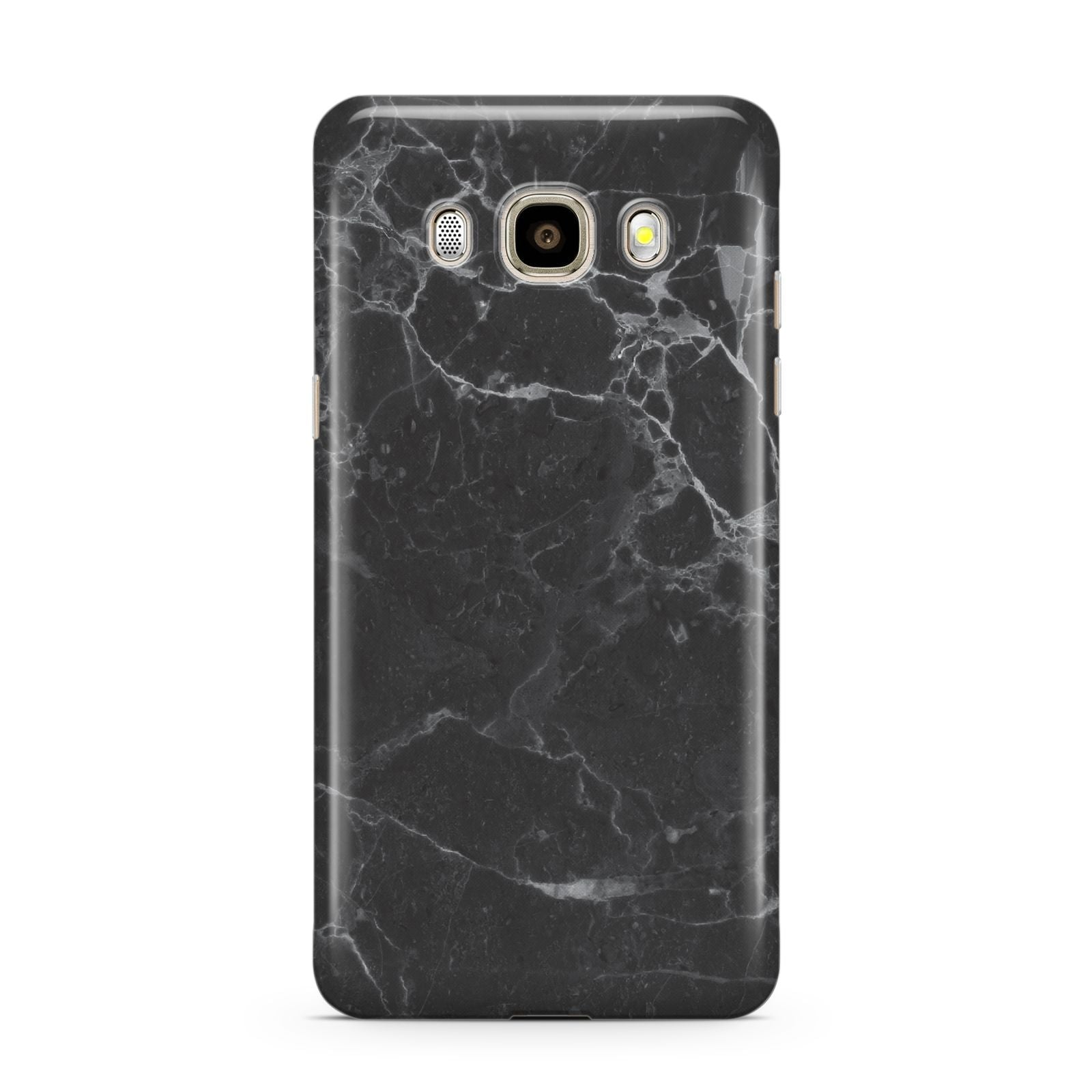 Faux Marble Effect Black Samsung Galaxy J7 2016 Case on gold phone