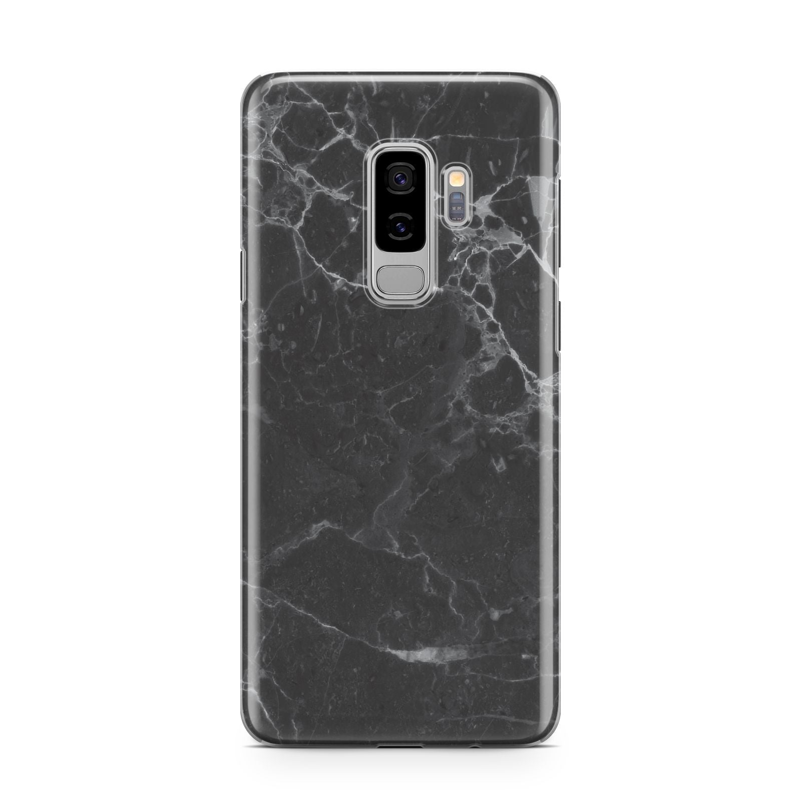 Faux Marble Effect Black Samsung Galaxy S9 Plus Case on Silver phone