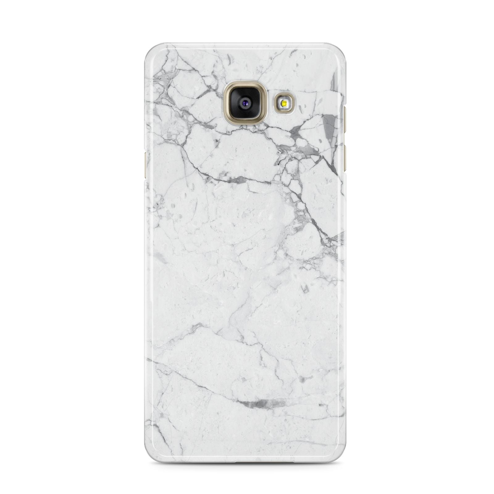 Faux Marble Effect Grey White Samsung Galaxy A3 2016 Case on gold phone