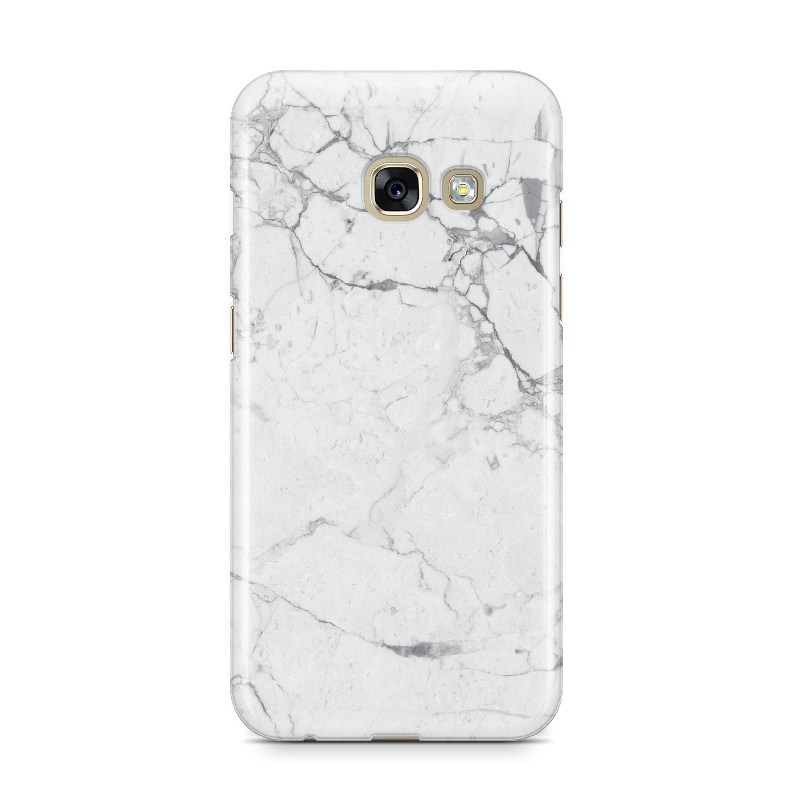Faux Marble Effect Grey White Samsung Galaxy A3 2017 Case on gold phone
