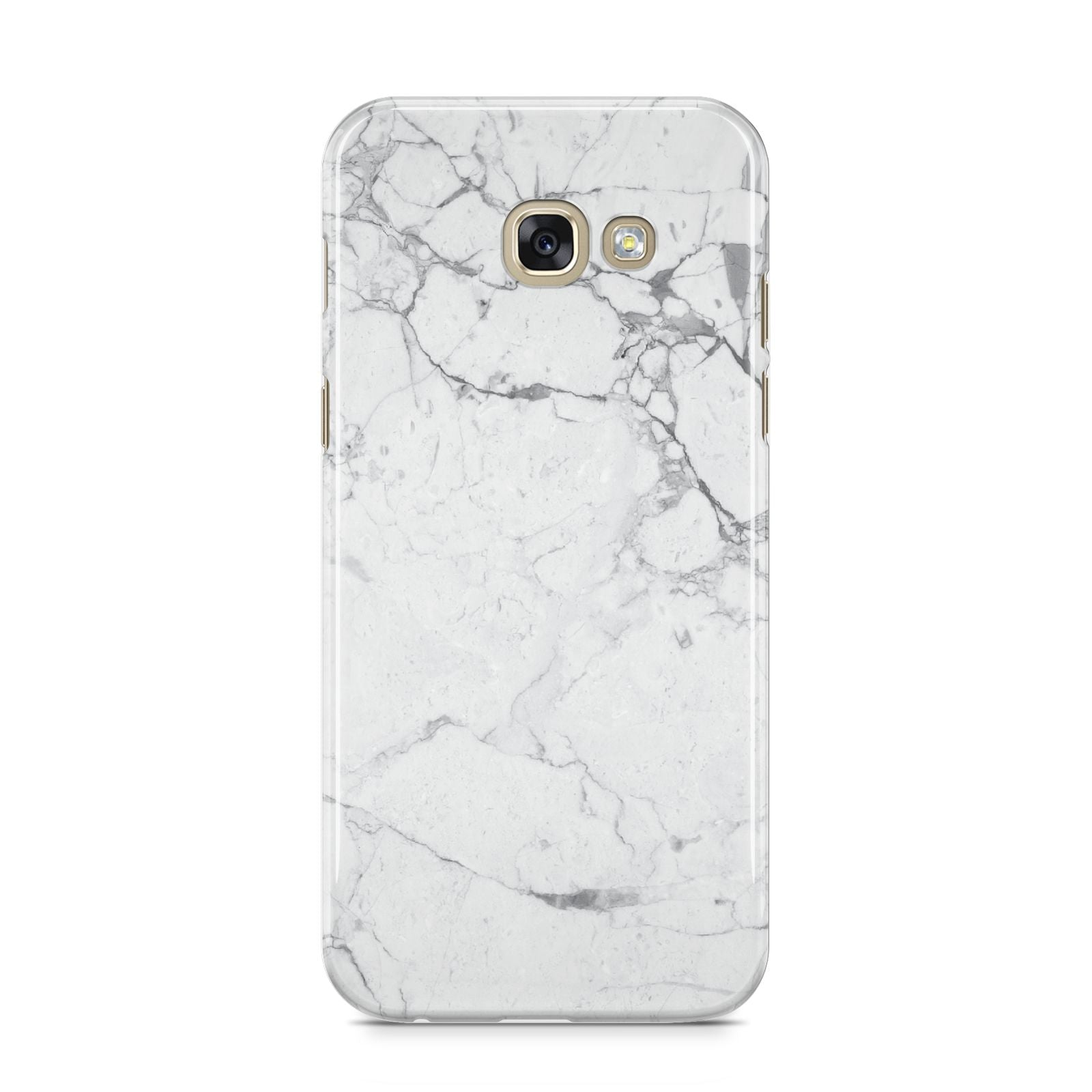 Faux Marble Effect Grey White Samsung Galaxy A5 2017 Case on gold phone