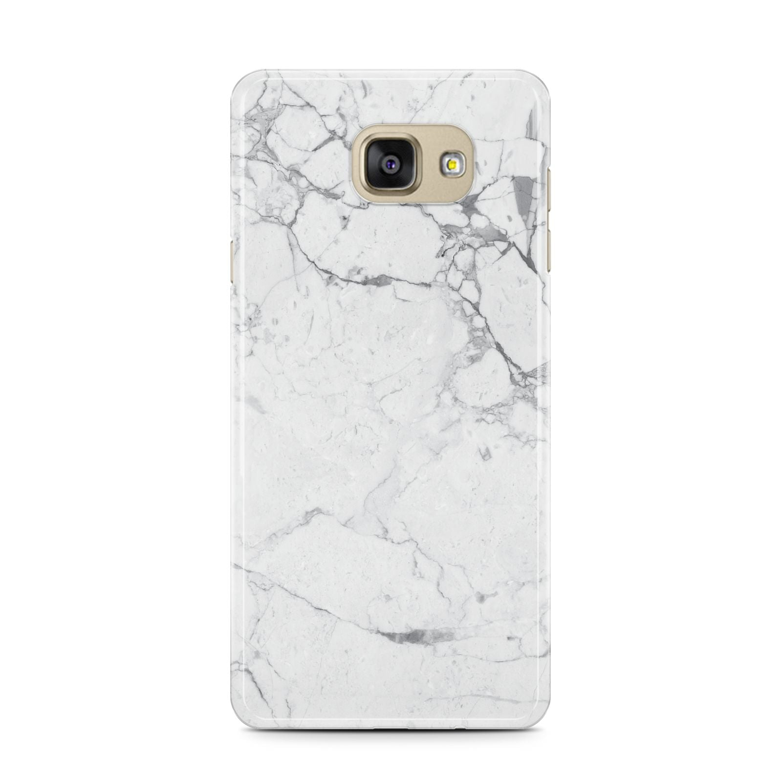 Faux Marble Effect Grey White Samsung Galaxy A7 2016 Case on gold phone