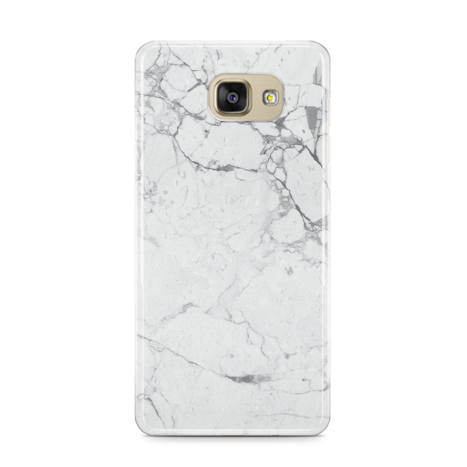 Faux Marble Effect Grey White Samsung Galaxy A9 2016 Case on gold phone