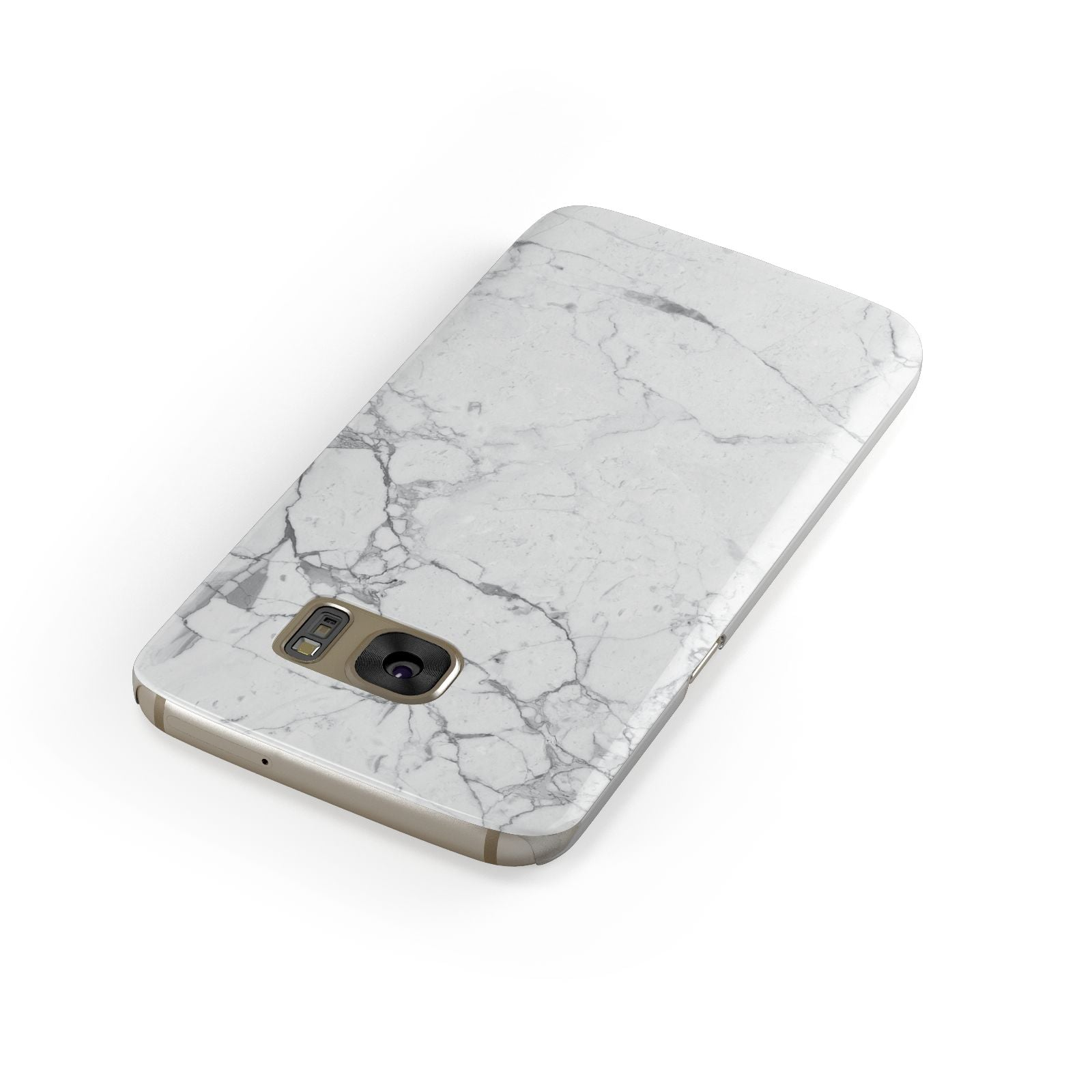 Faux Marble Effect Grey White Samsung Galaxy Case Front Close Up