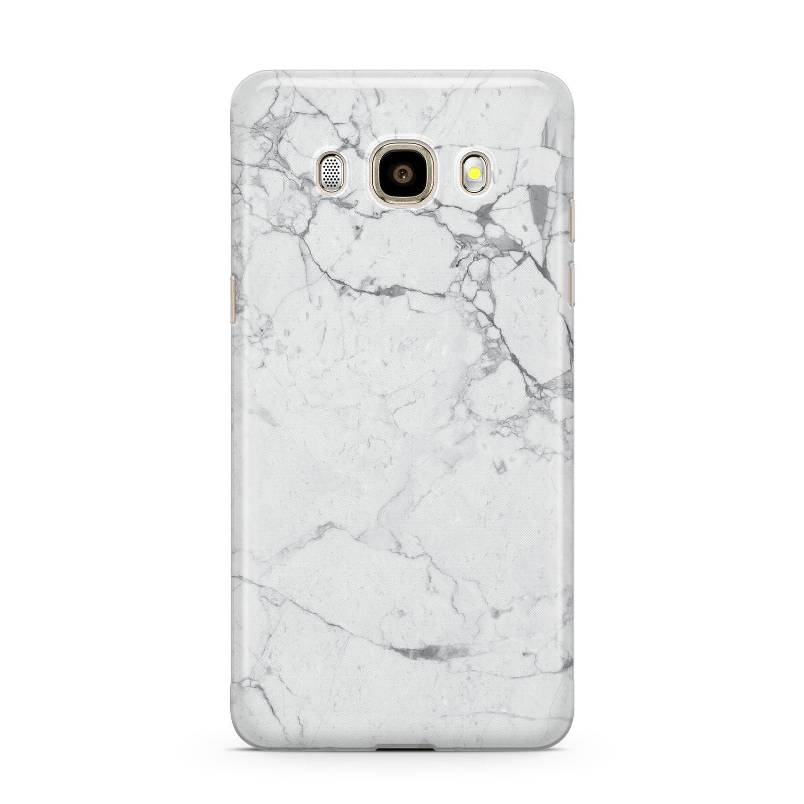 Faux Marble Effect Grey White Samsung Galaxy J7 2016 Case on gold phone