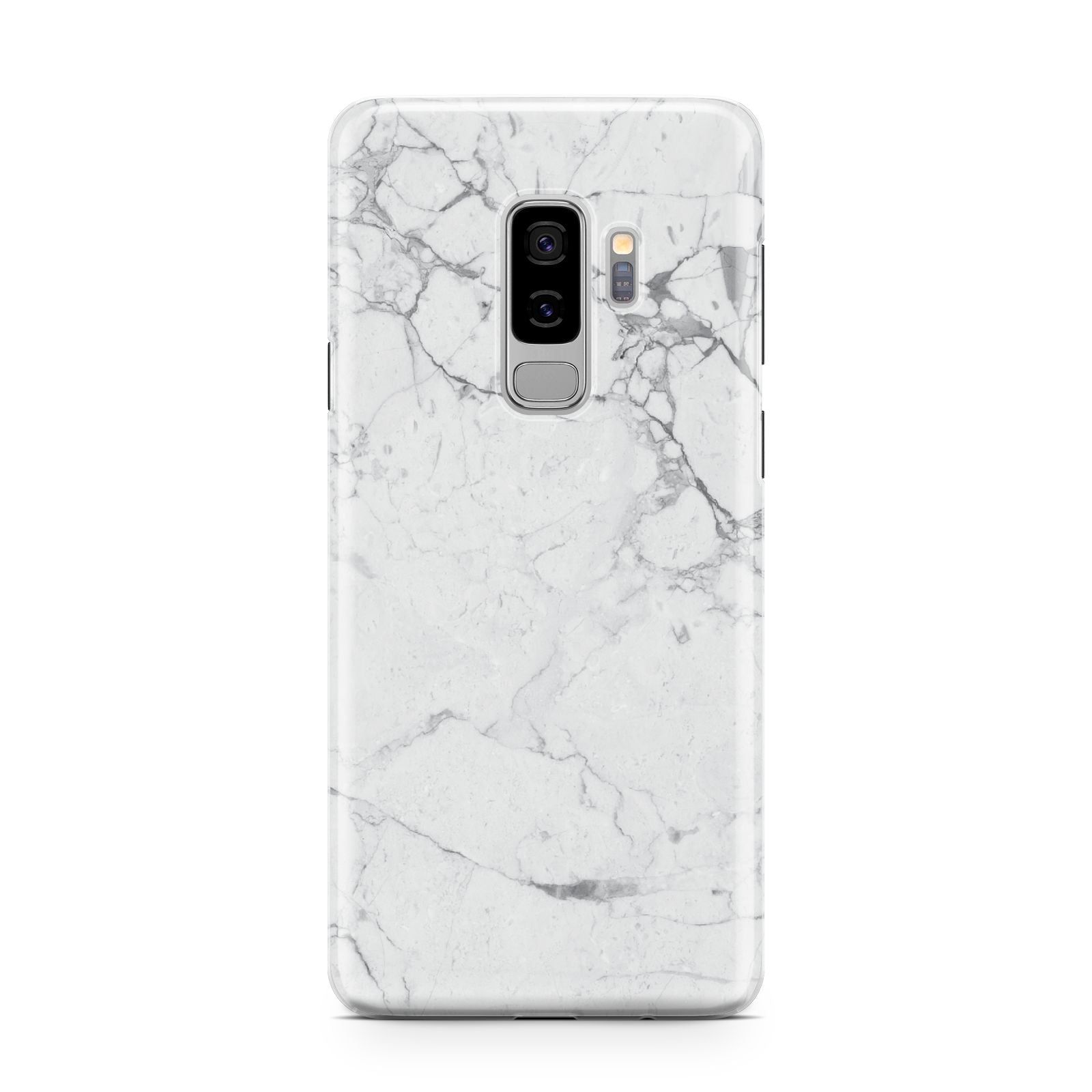 Faux Marble Effect Grey White Samsung Galaxy S9 Plus Case on Silver phone